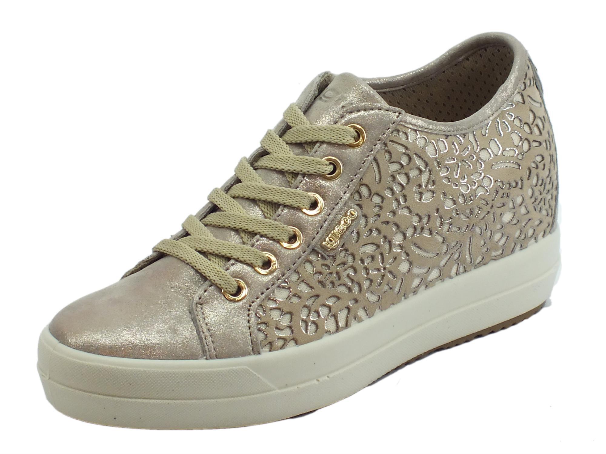 1160b818a4 Sneakers Igi&Co per donna in pelle laserata nuvolato e perlata taupe zeppa  interna