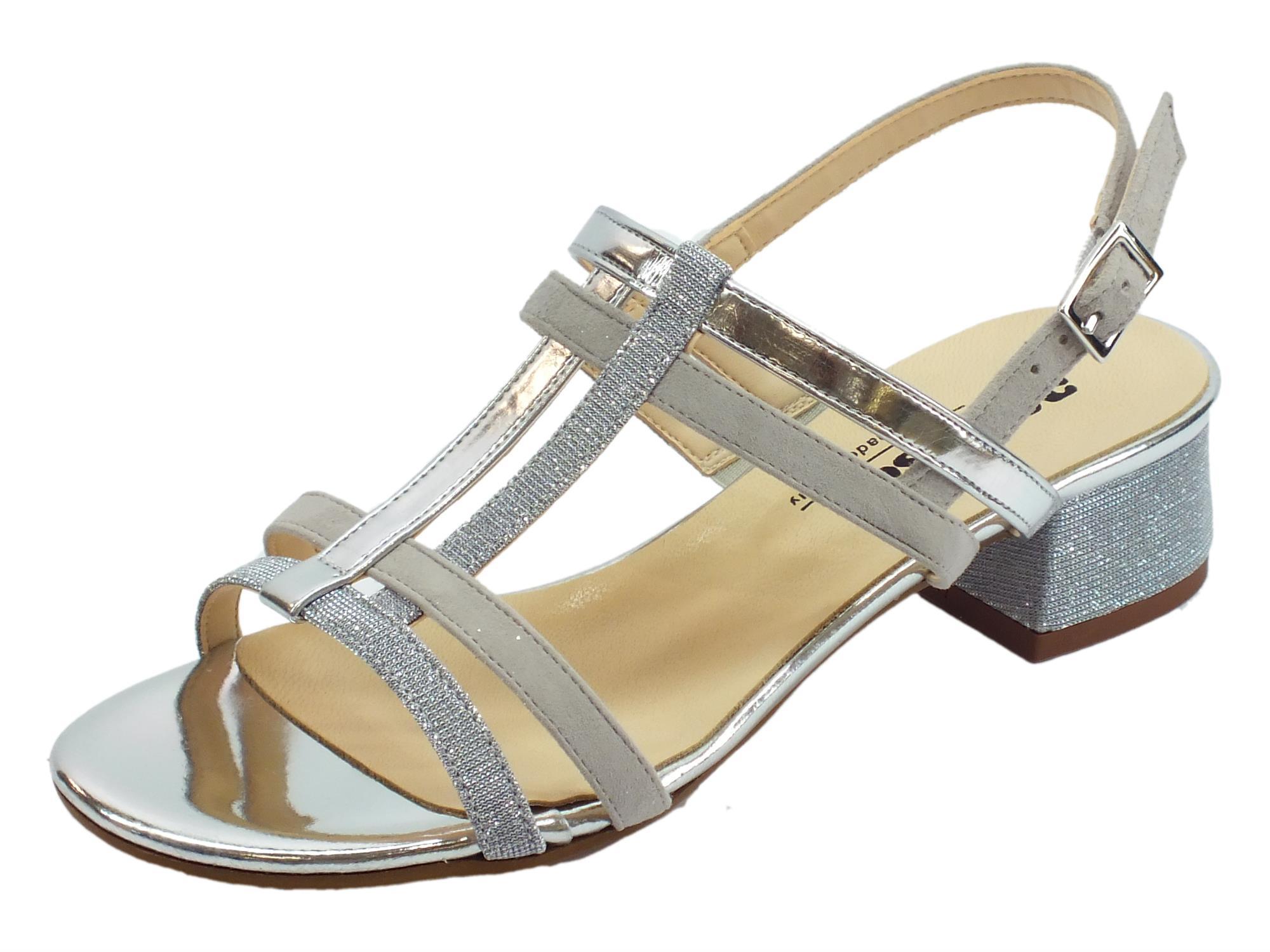 e759775ec97d4 Melluso K35105 Argento sandali donna tacco basso pelle camoscio e  brillantini argento