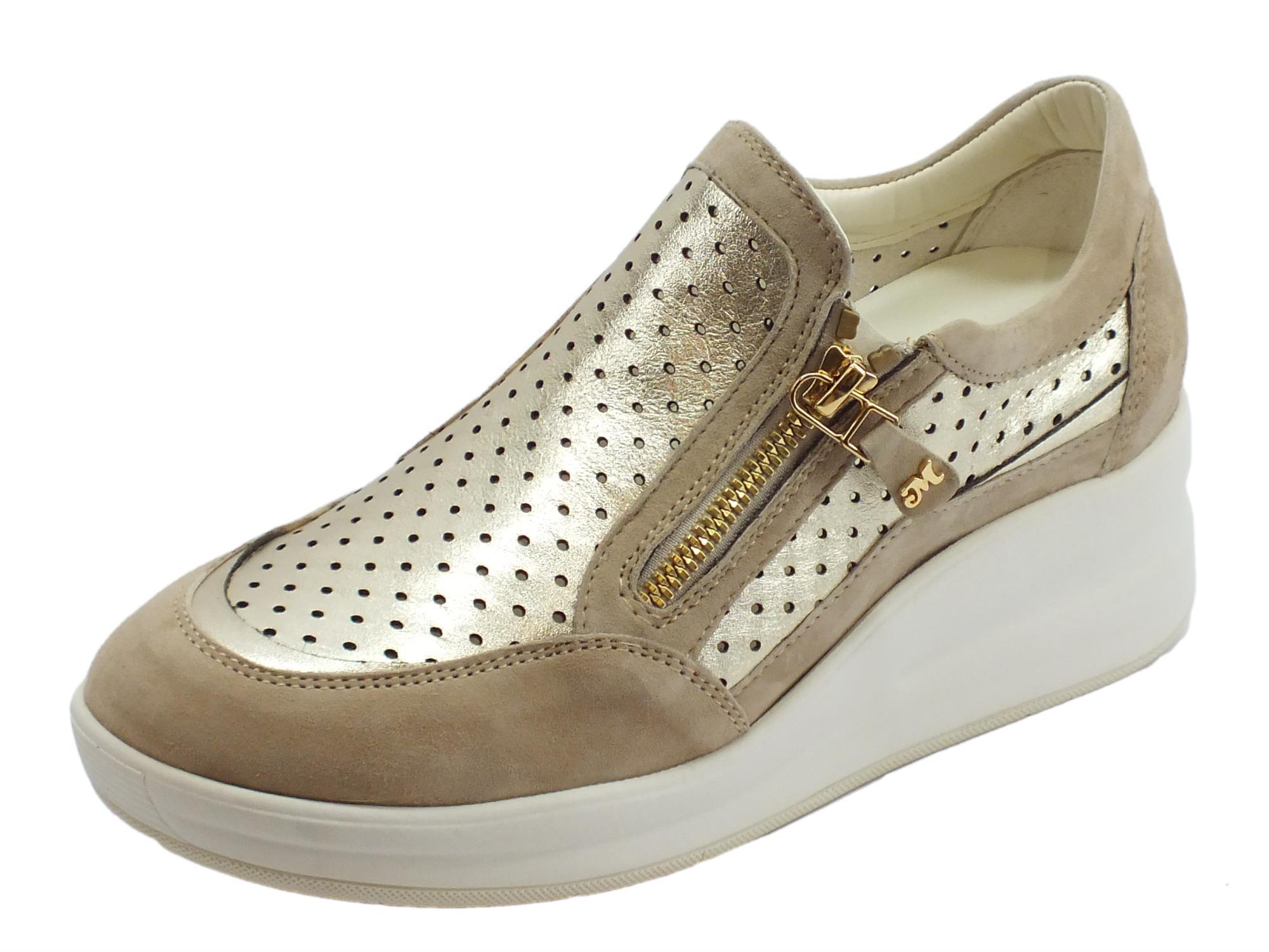 nuovo concetto 133a6 b66ca Sneakers Melluso Walk in pelle e camoscio colore corda ed oro zeppa alta