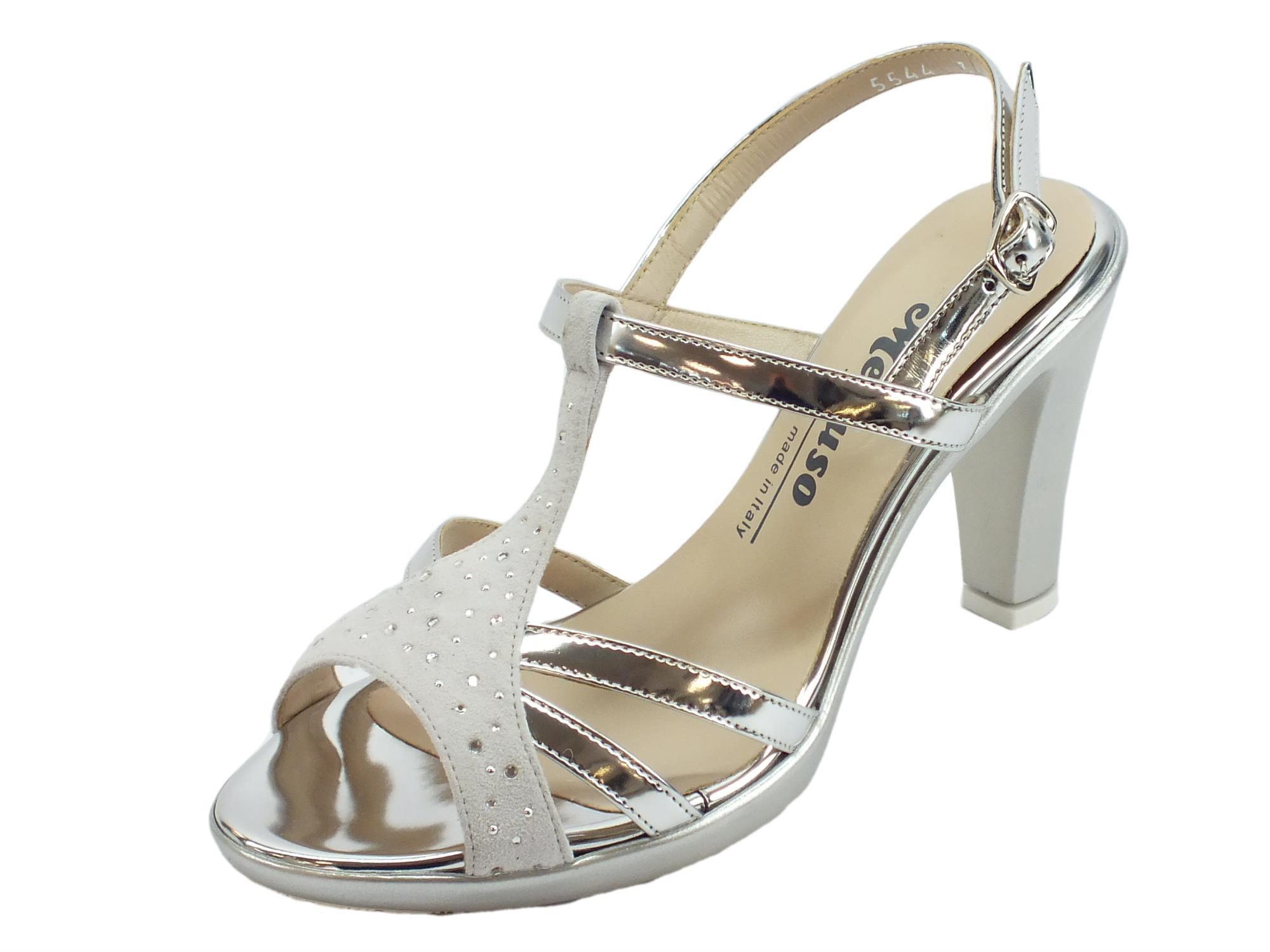 più recente cd7db 2f78d Melluso sandali eleganti tacco alto per donna in pelle argento e nabuk  ghiaccio