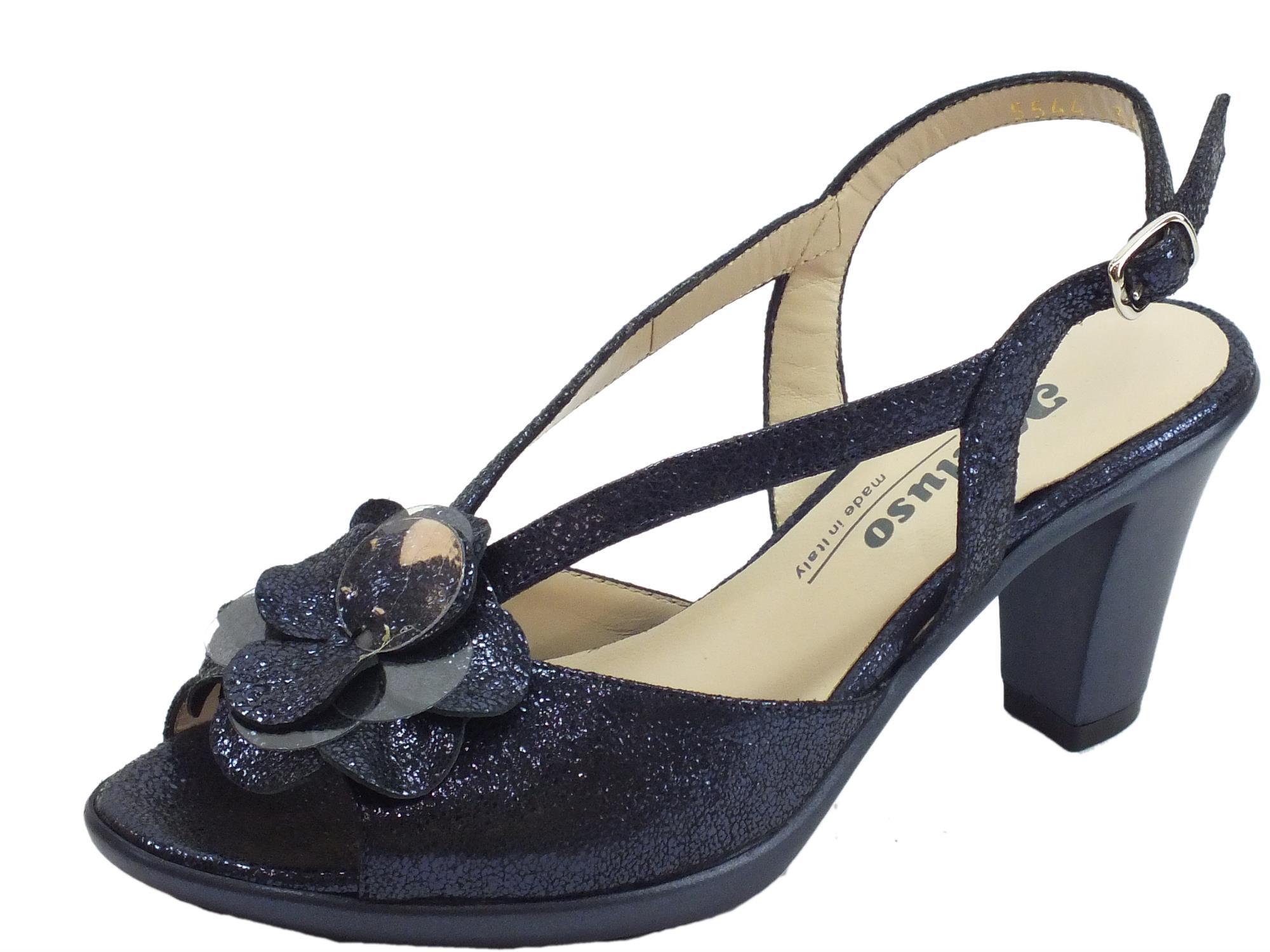 SCARPE CERIMONIA DONNA BLU sandali tacco medio cuoio made in