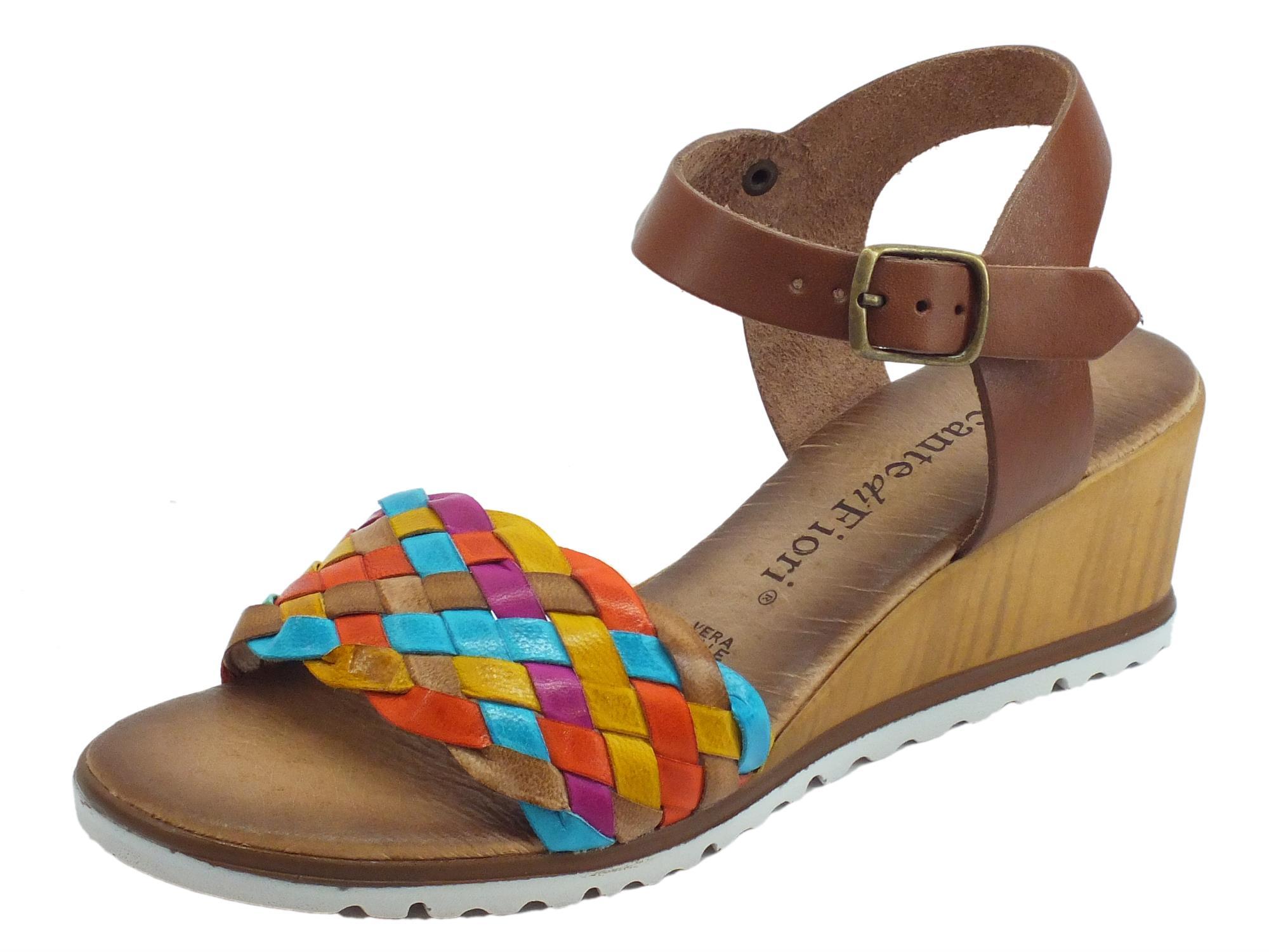 13ddf6827c Mercanti di Fiori sandali donna in pelle intrecciata multicolore zeppa alta