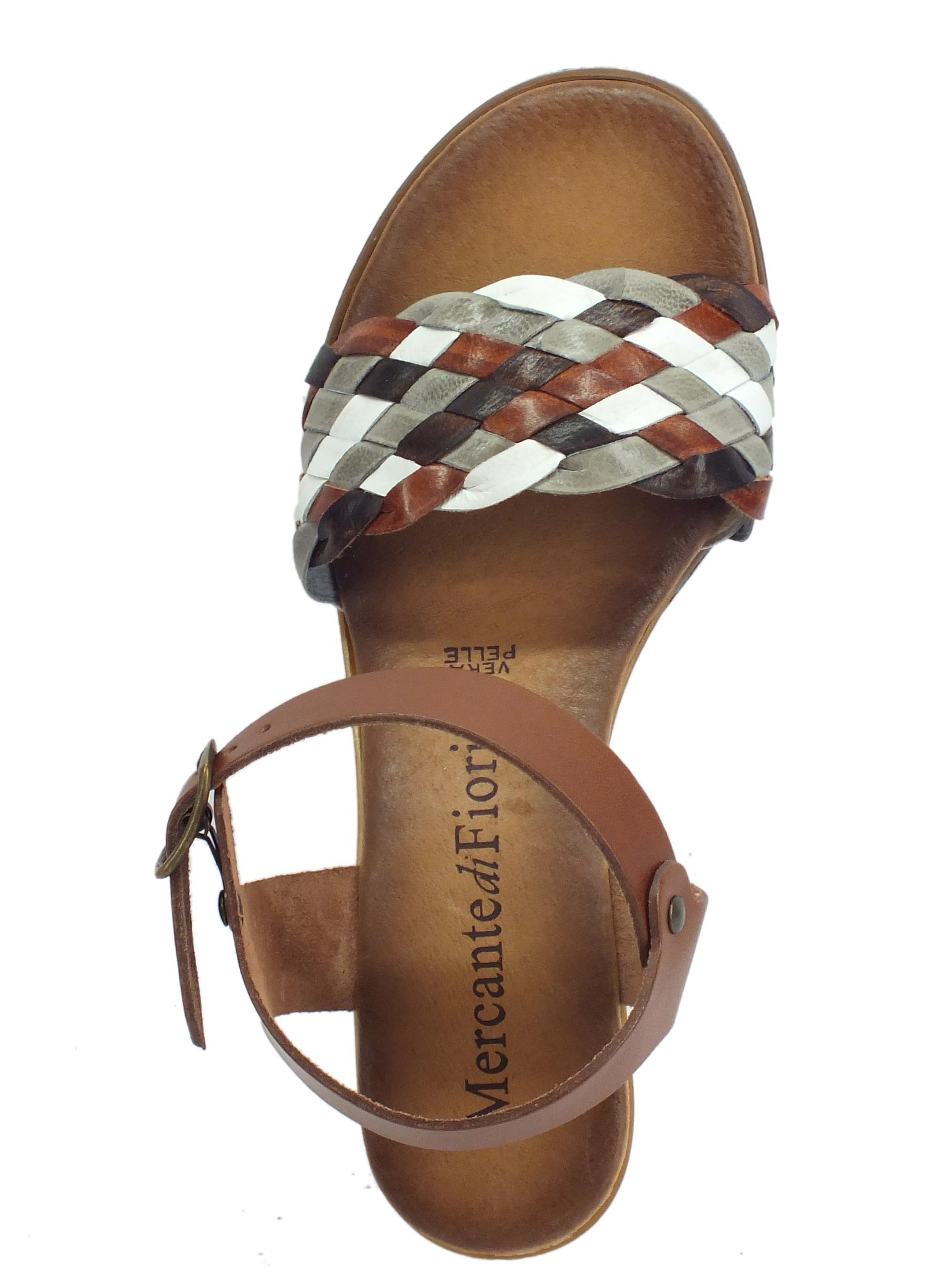 907abade8e Mercanti di Fiori sandali donna in pelle intrecciata multicolore marrone  zeppa alta