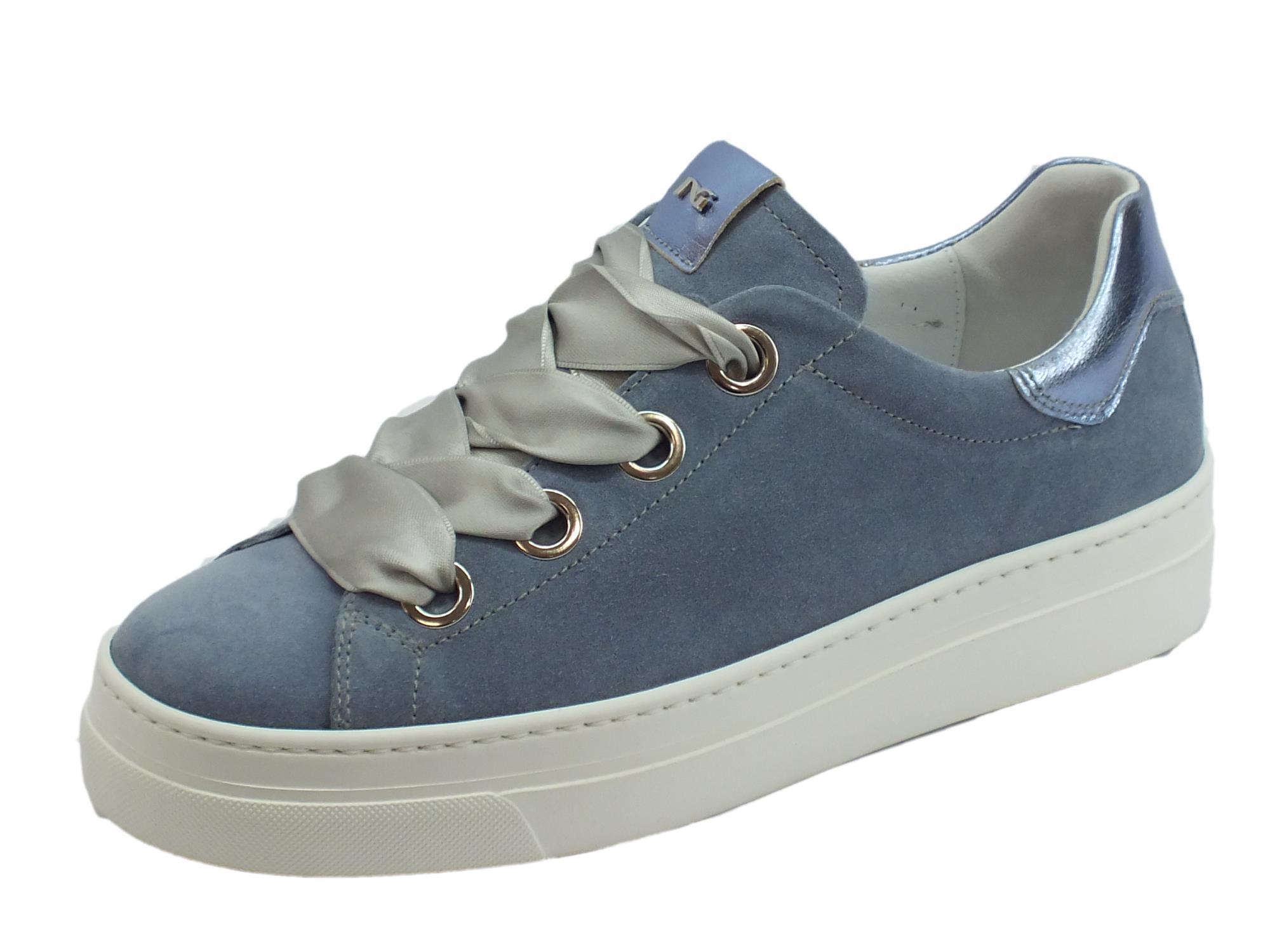 5253705c0b Sneakers basse NeroGiardini per donna in camoscio colore stella lacci in  raso