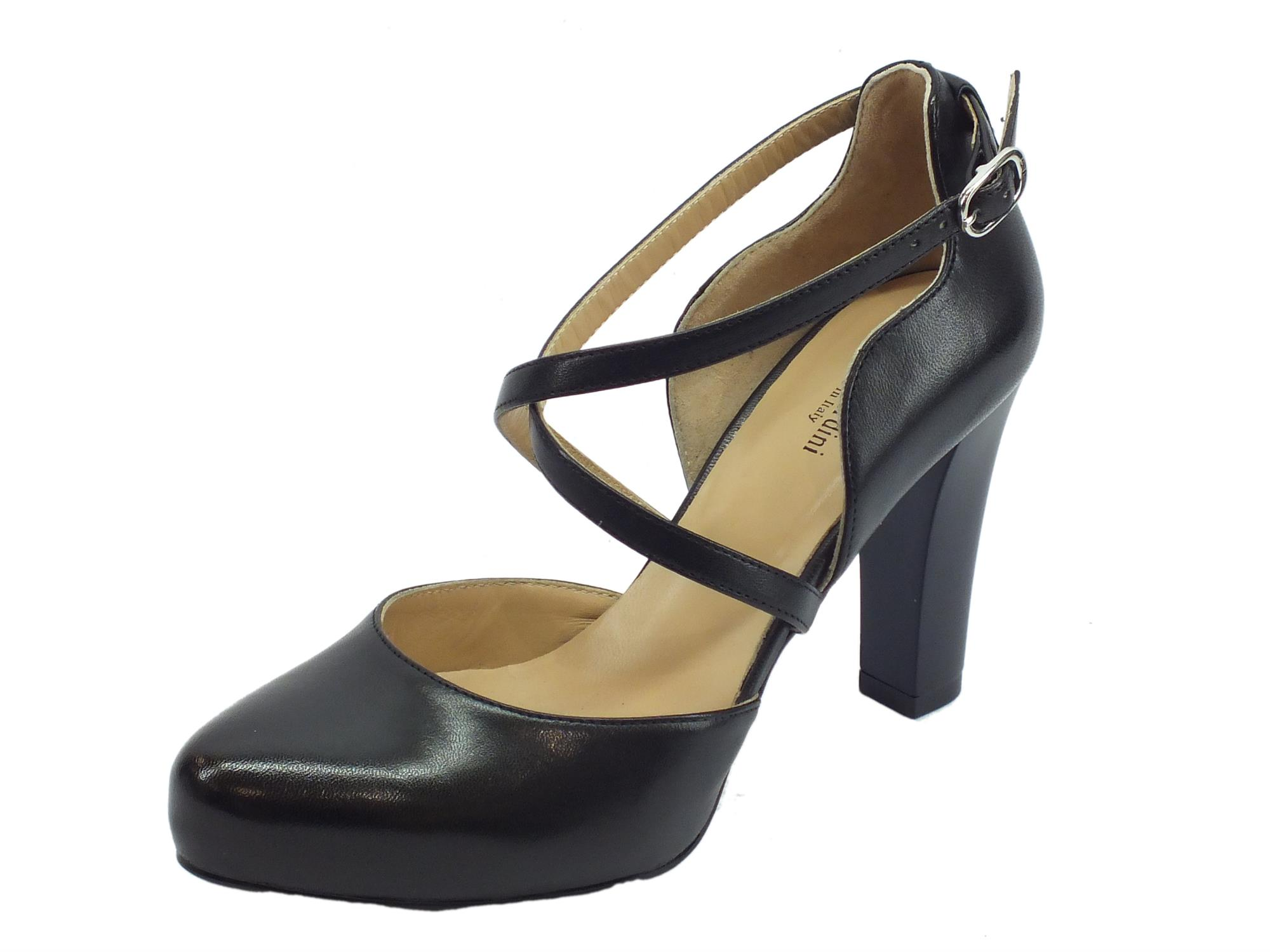 b65531d8c2c7bd Decoltè elegante NeroGiardini per donna in pelle nera tacco alto taglio  ondulato