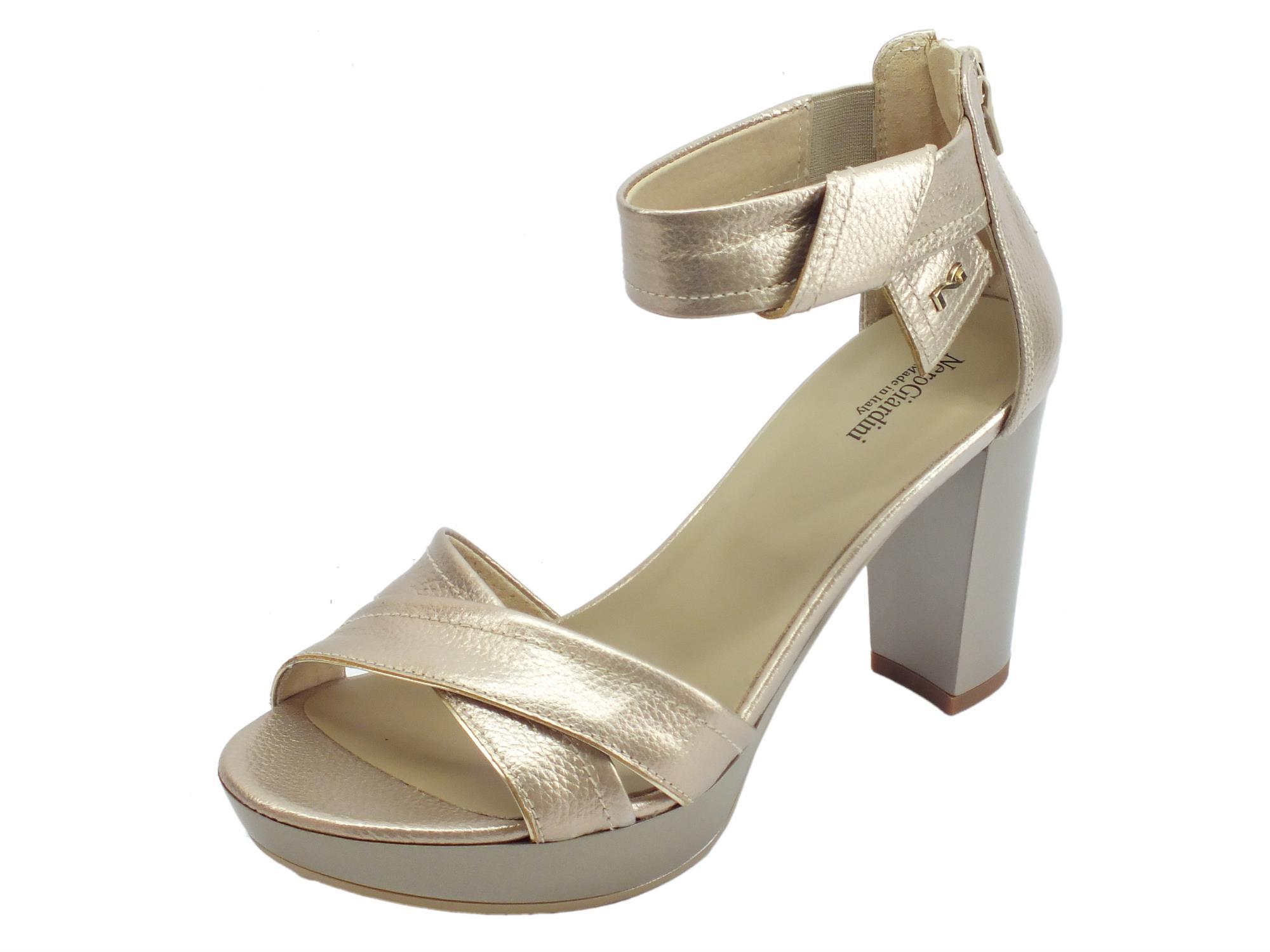 8a8179d0533764 NeroGiardini P908080D Marte Nut sandali eleganti tacco alto in pelle beige