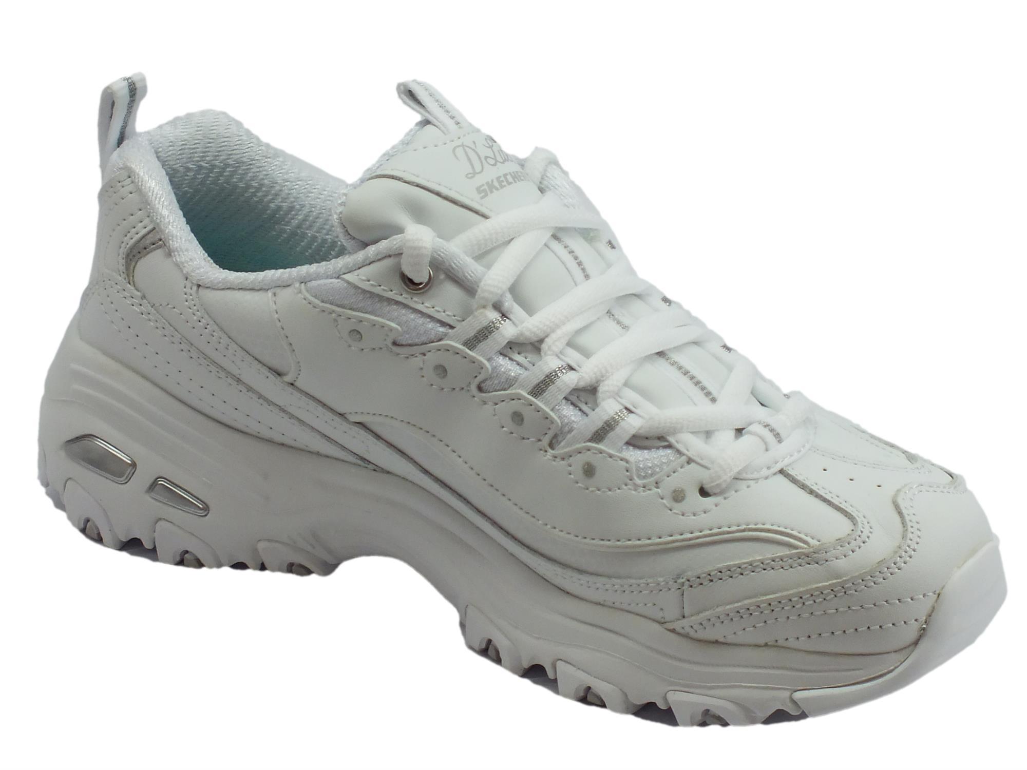 Skechers D'Lites Fresh Start White Silver Sportive per donna memory foam