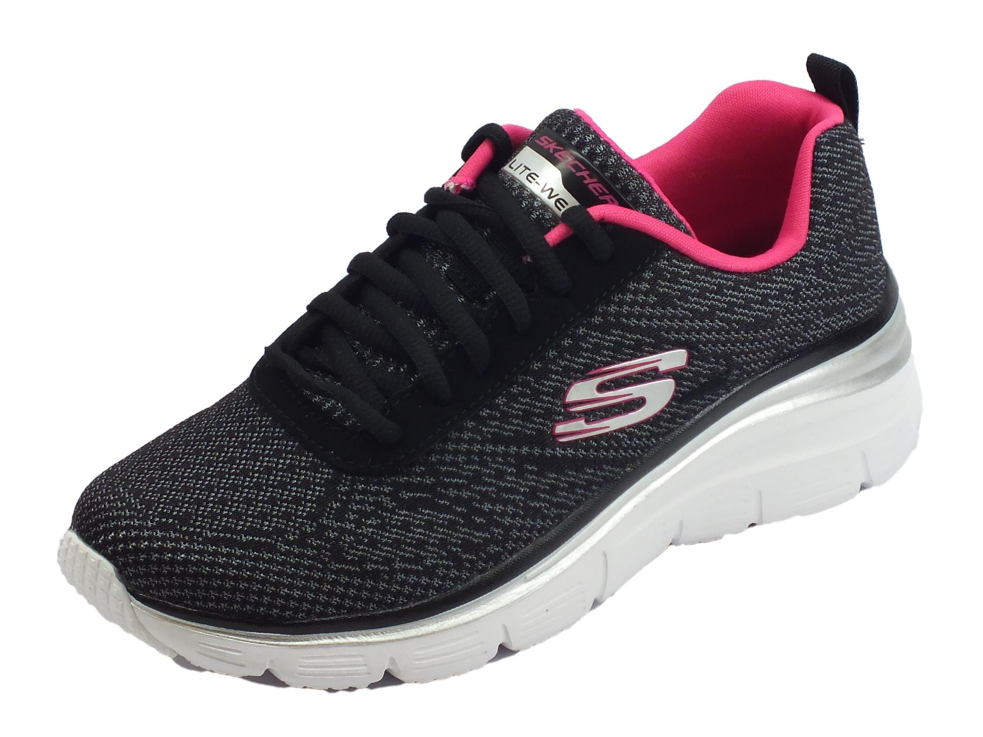Skechers Fashion Fit Bold Boundaries Scarpe Sportive per donna nere e rosa  acceso