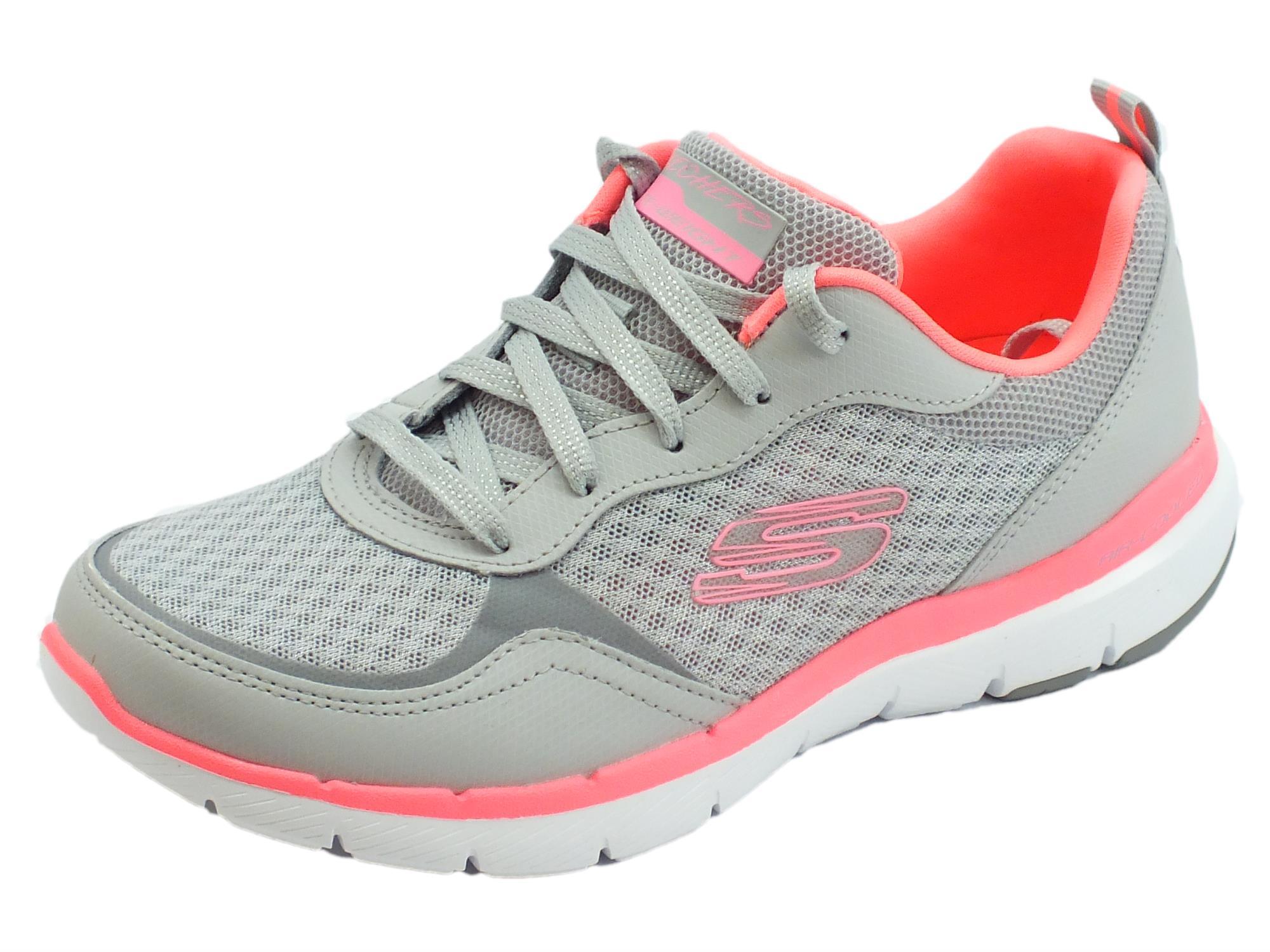 6af4bcf85276a4 Skechers Flex Appeal 3.0 Go Forward scarpe sportive per donna grigie e rosa