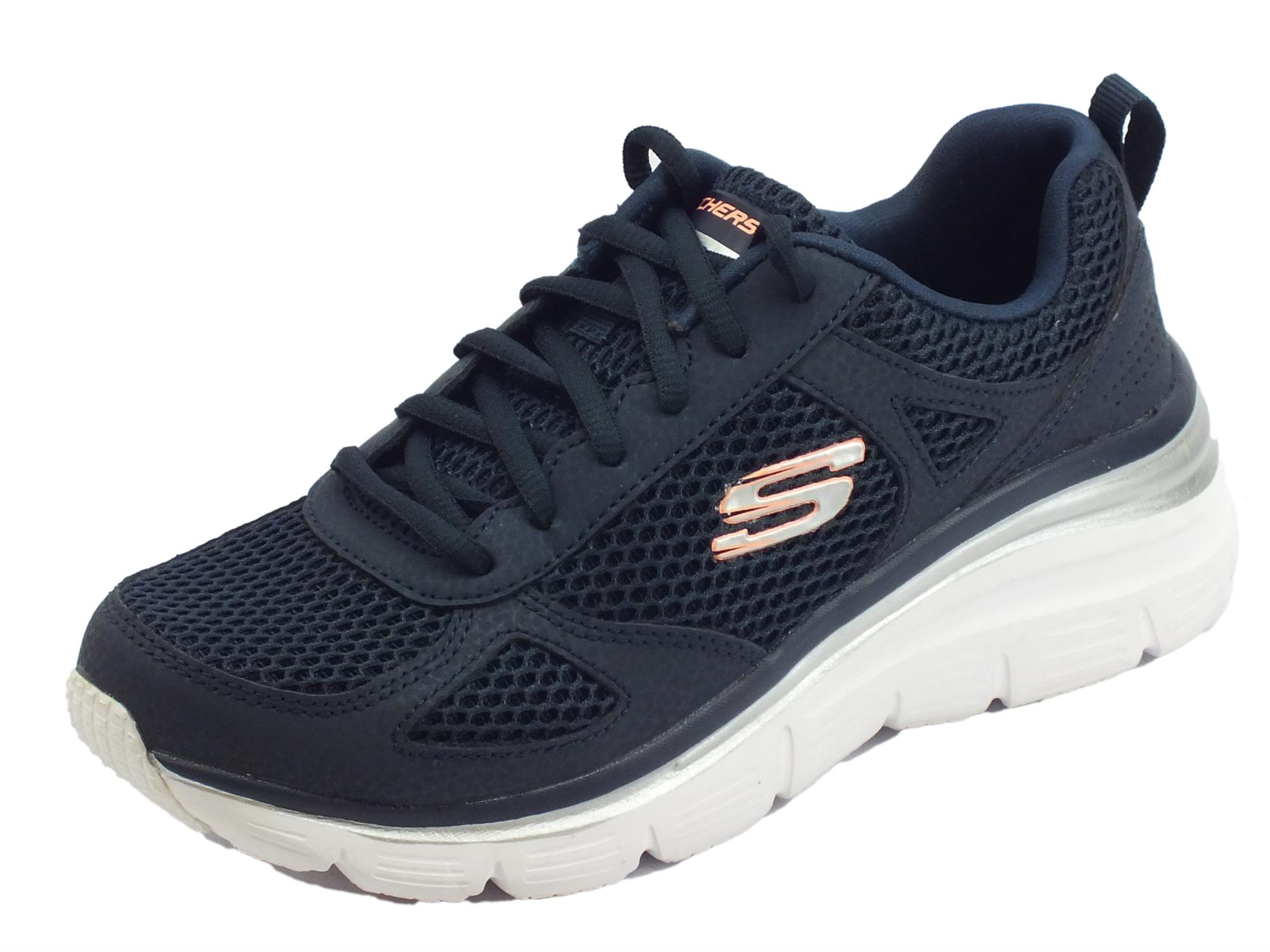 Skechers Fashion-fit Perfect Mate scarpe sportive per donna blu con memory  foam