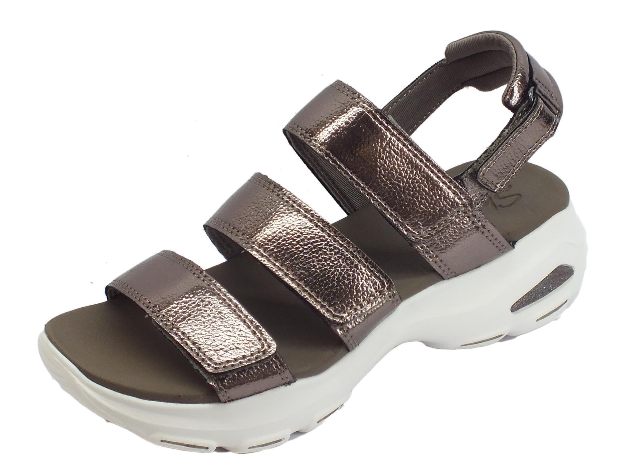 Skechers D'Lites Ultra Fab Life Pewter sandali sportivi per donna peltro chiusura a strappo