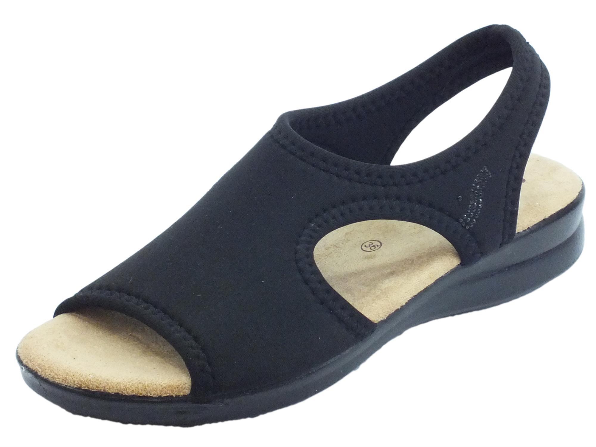 separation shoes 806ad a058f Susimoda sandali per donna in tessuto elasticizzato nero