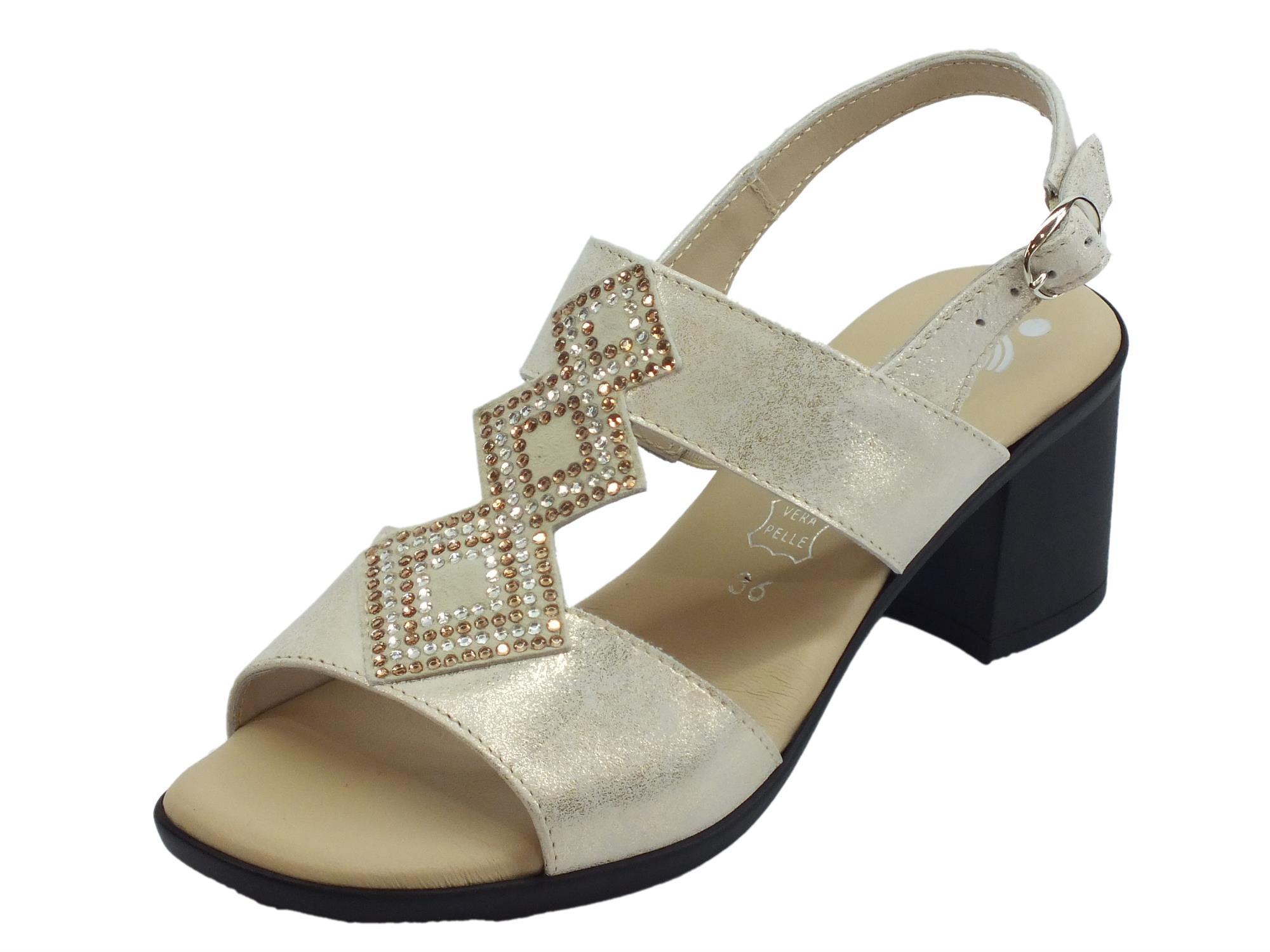 info for c6641 35071 Susimoda Sandali per donna in vera pelle platino con brillantini