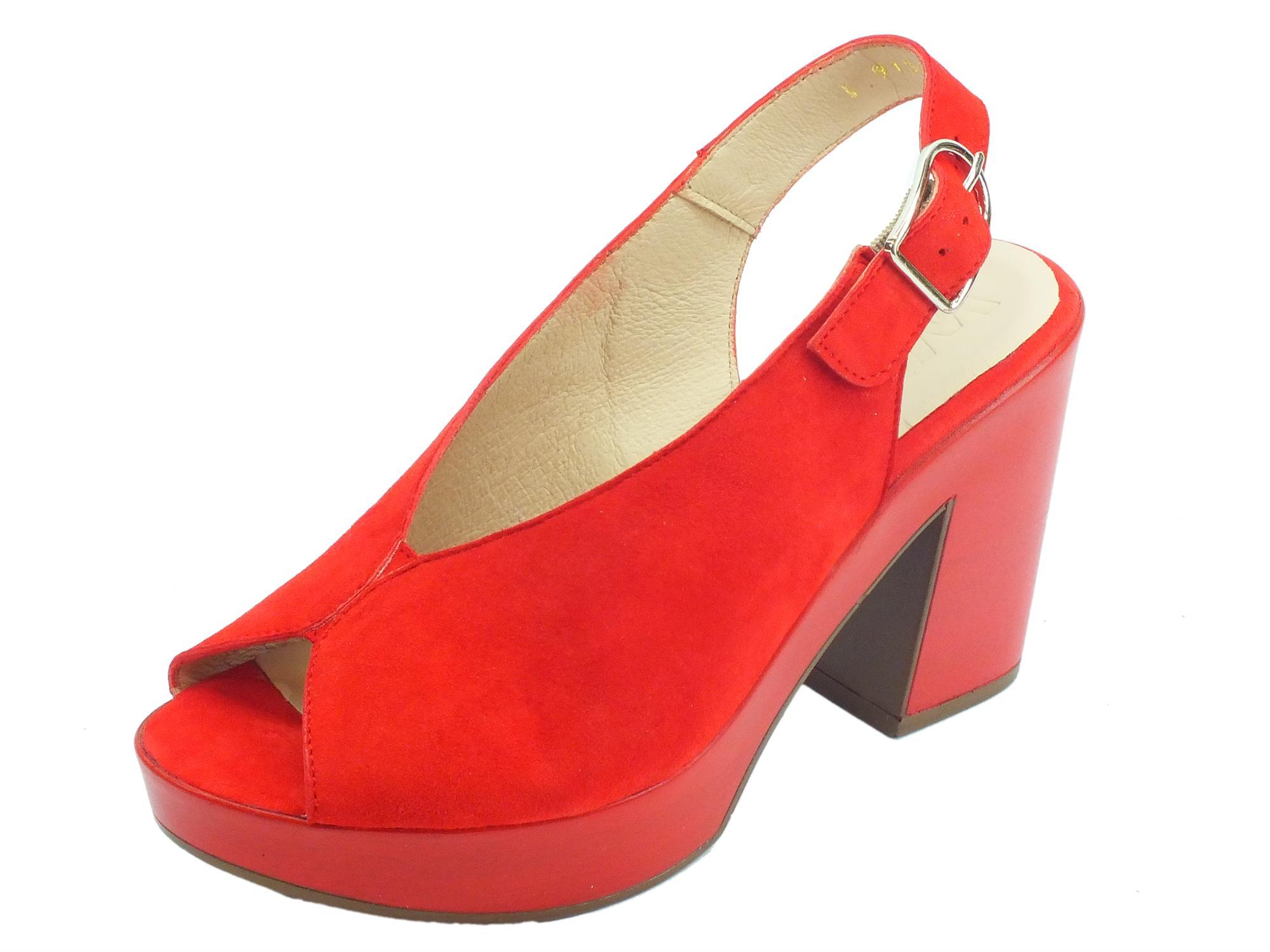 fc0308d100 Wonders Ante V Sandali per donna in camoscio rosso tacco altissimo e plateau