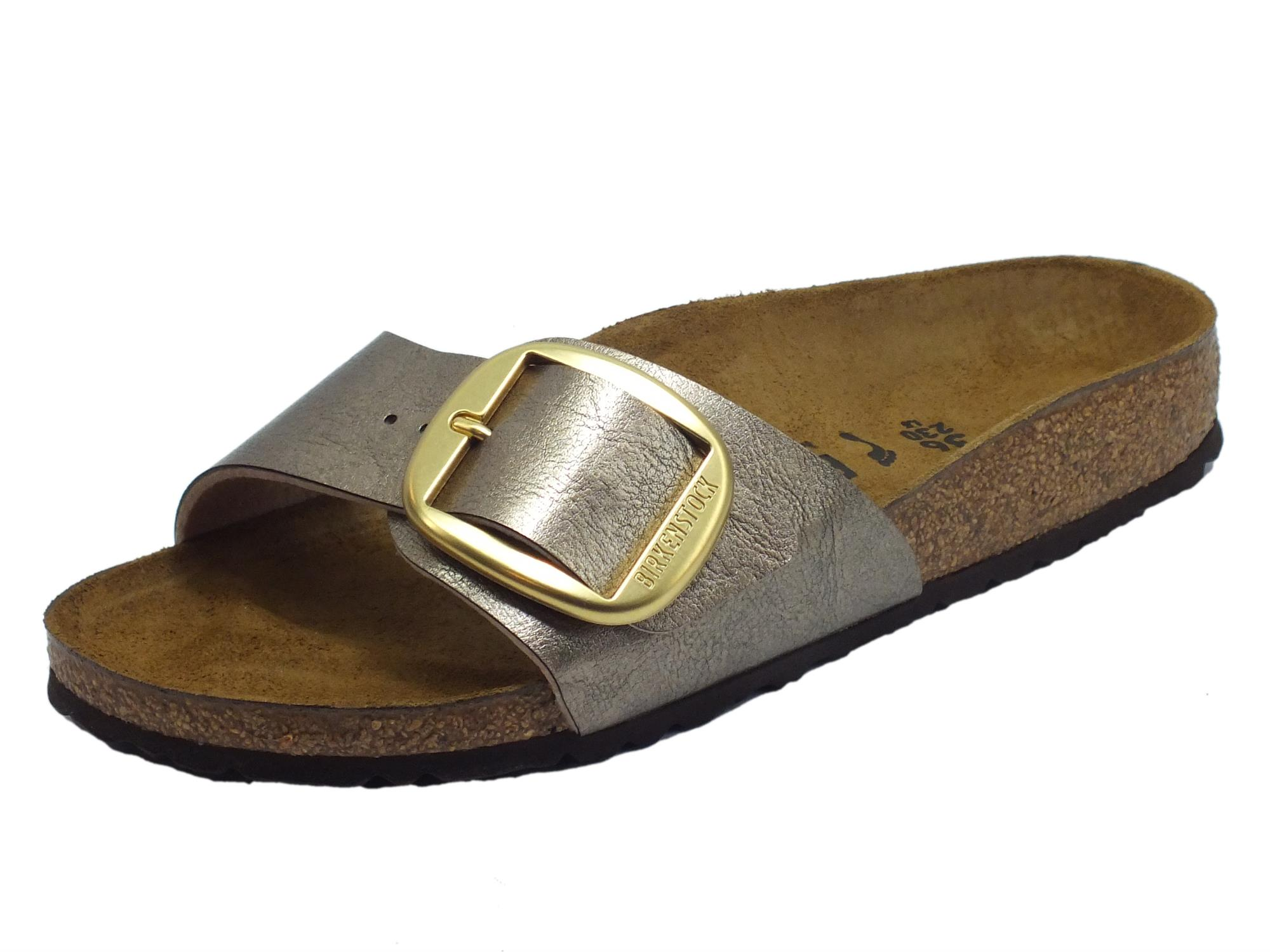 Birkenstock 1016237 Madrid Big Buckle Graceful Taupe Sandalo per Donna ecopelle sottopiede pelle