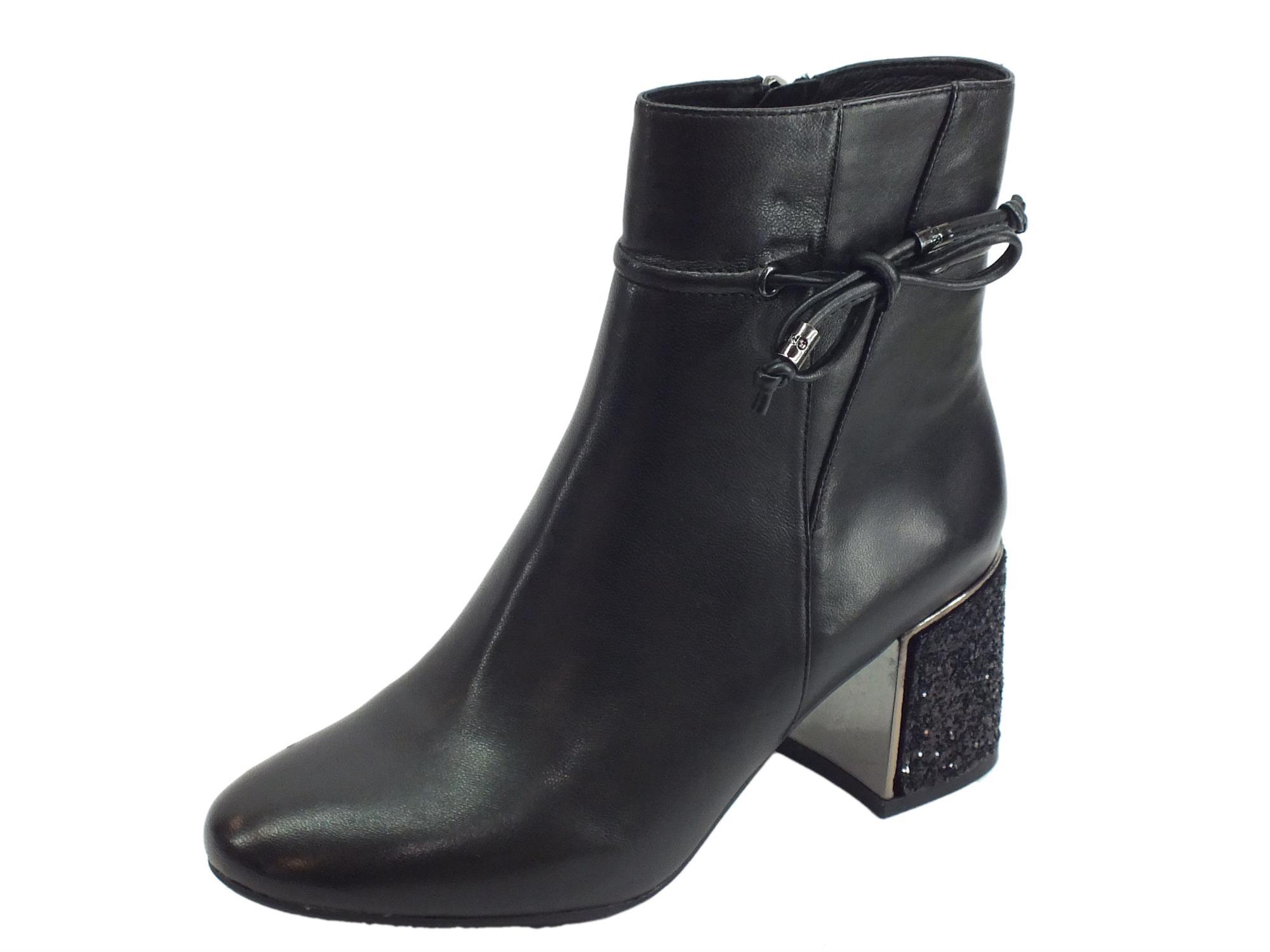 CafèNoir HLA142 010 Nero Tronchetti eleganti Donna in pelle nera tacco alto
