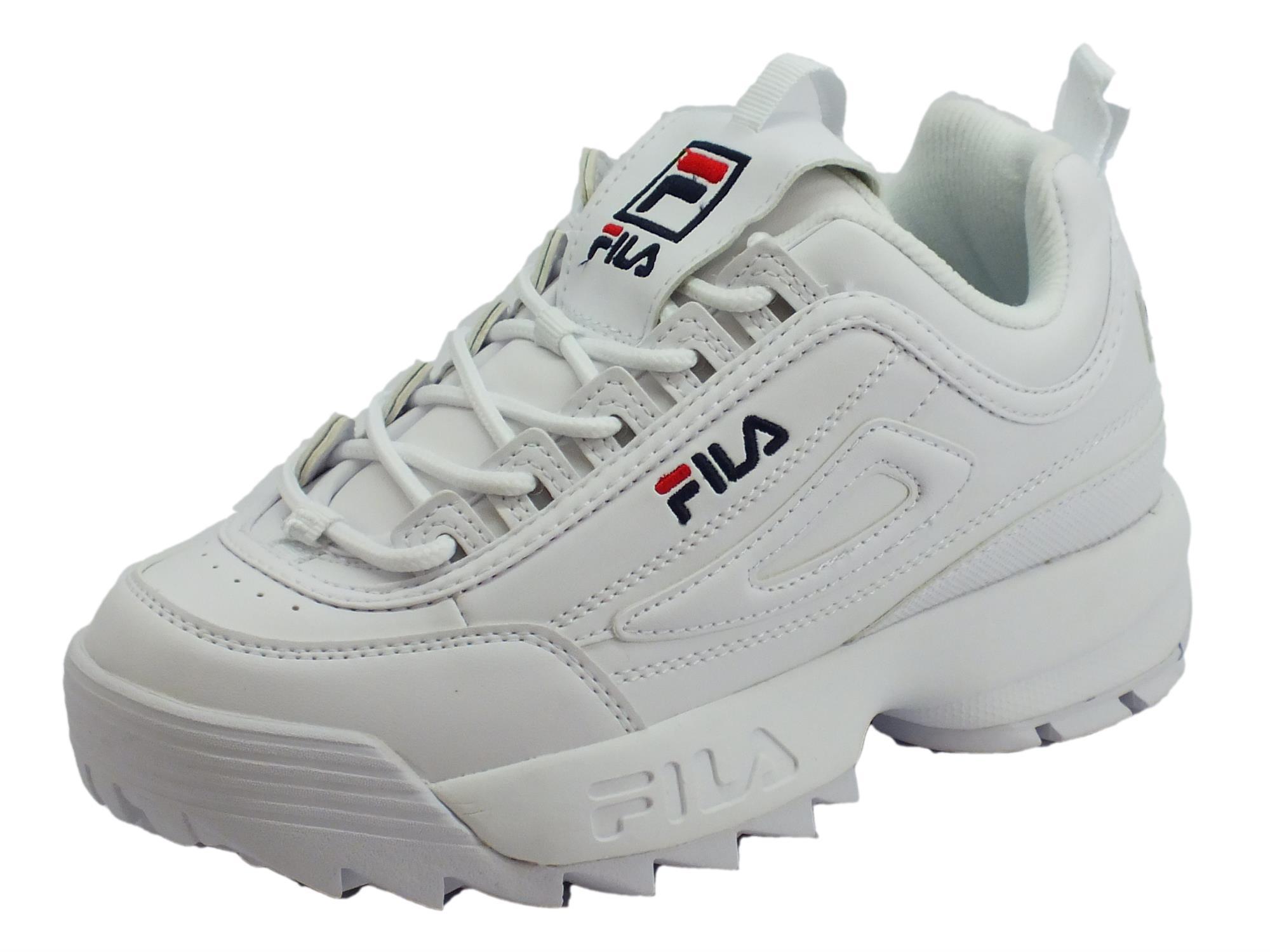 in vendita 46338 9a360 Fila 1010302.1FG Disruptor Low WMN White Scarpe sportive donna ecopelle  bianca zeppa alta