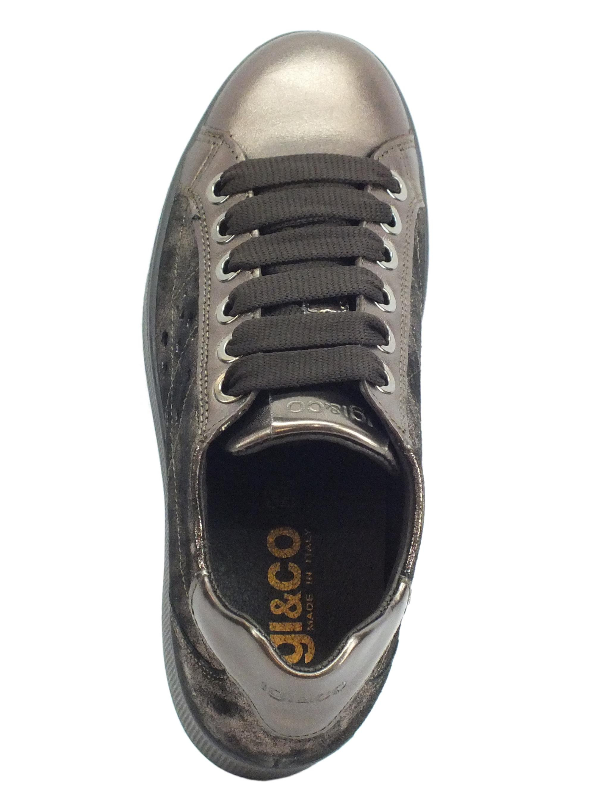 Igi&Co 4152244 Cap. Lam Cap Sneakers donna in pelle bronzo spazzolato nero con zeppa