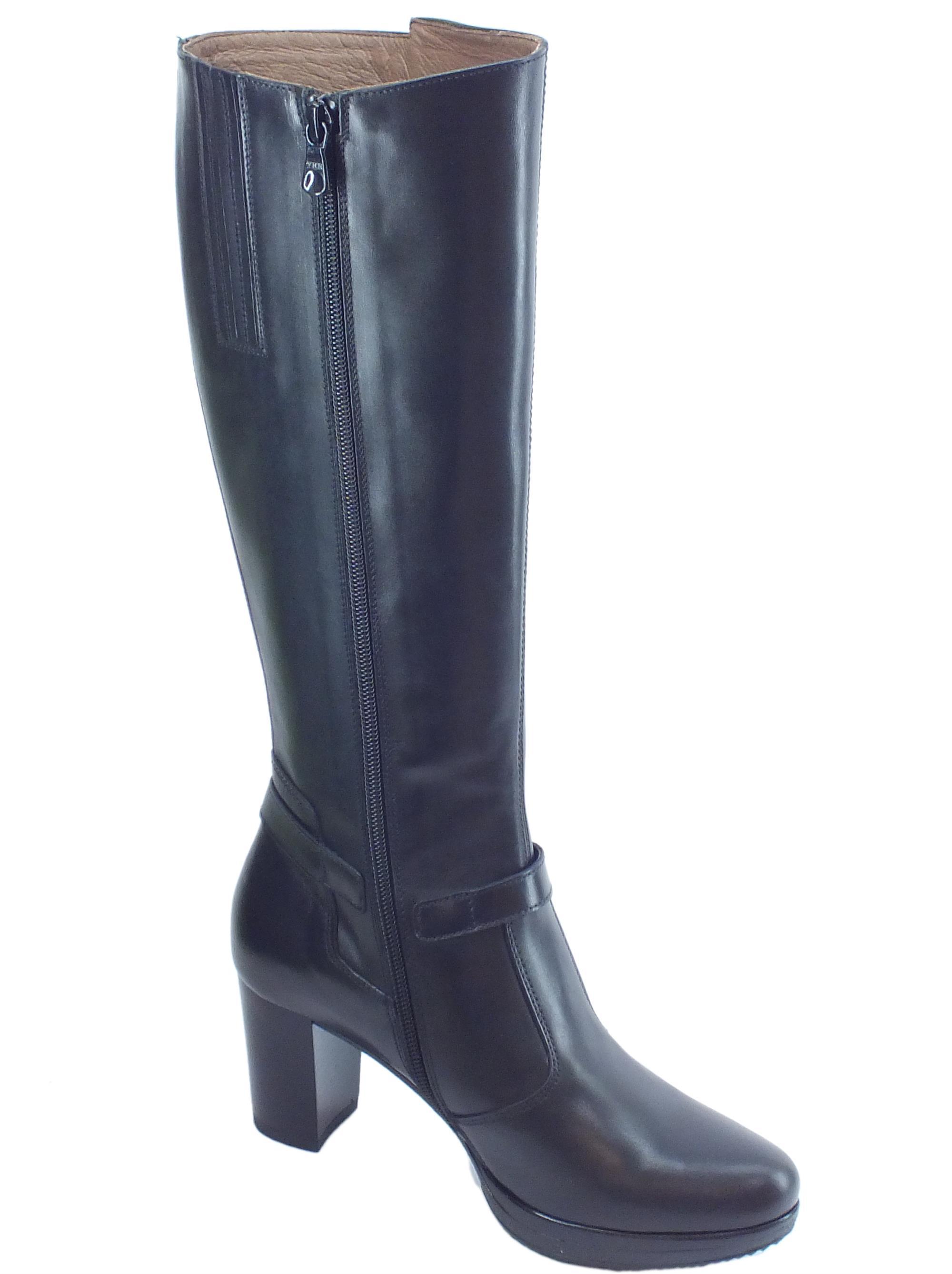 NeroGiardini A909610D Vitello BT Nero Stivali Donna con Tacco Medio in Pelle con Lampo ed Elastici