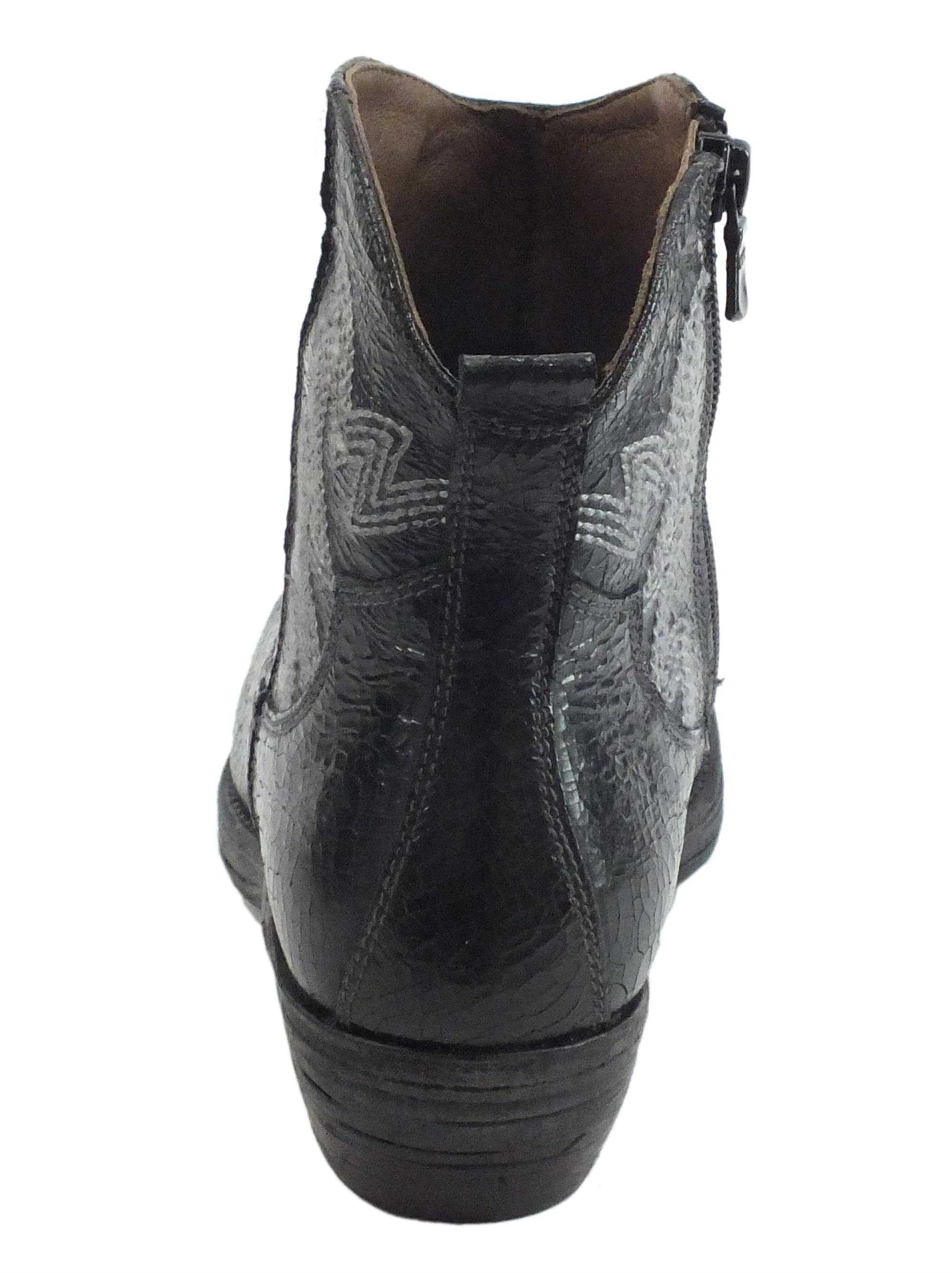 NeroGiardini A908770D Crack Nero Stivali Texani Donna in pelle stropicciata con lampo
