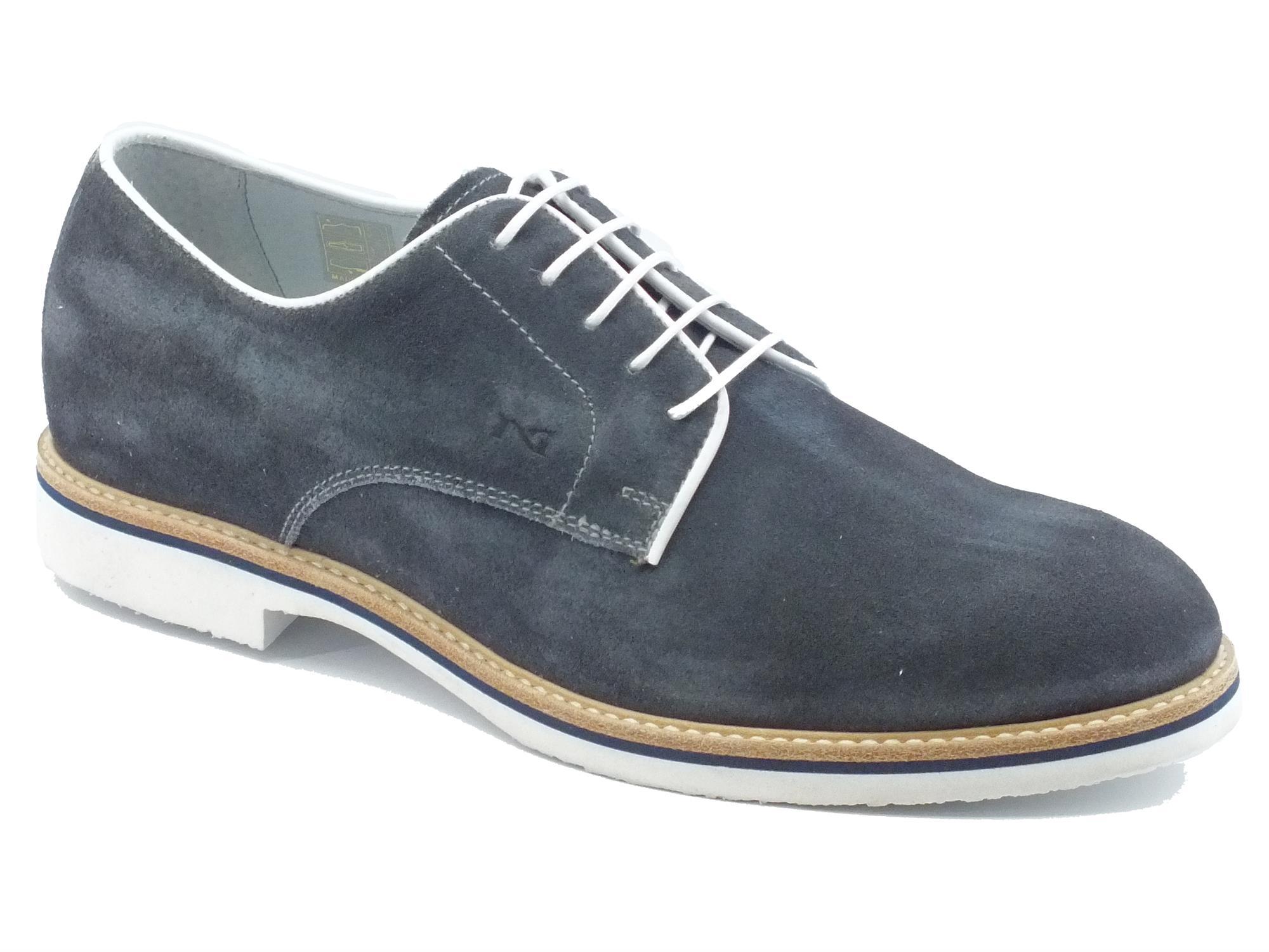 Scarpe uomo NeroGiardini camoscio blu bianco - Vitiello Calzature fa695e63e9c