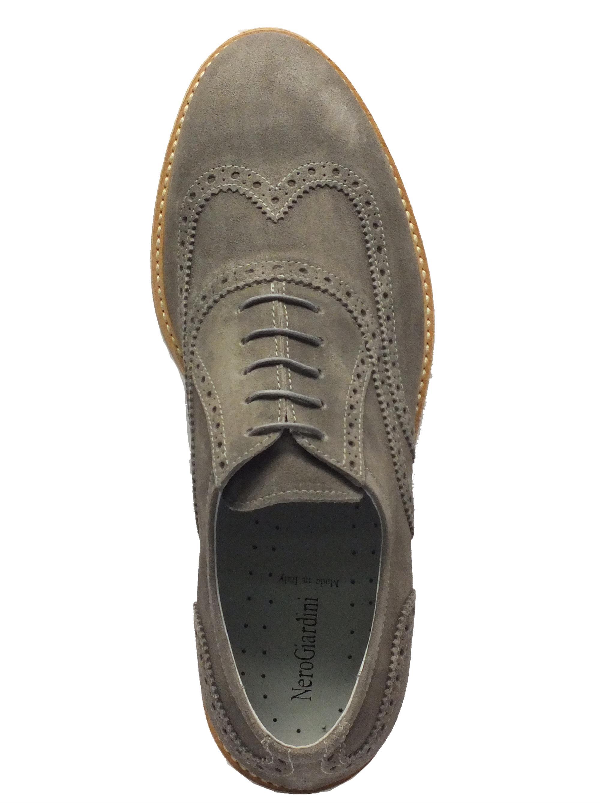 ... Scarpe Nero Giardini per uomo in camoscio grigio lavorazione duilio f655e20ba4d