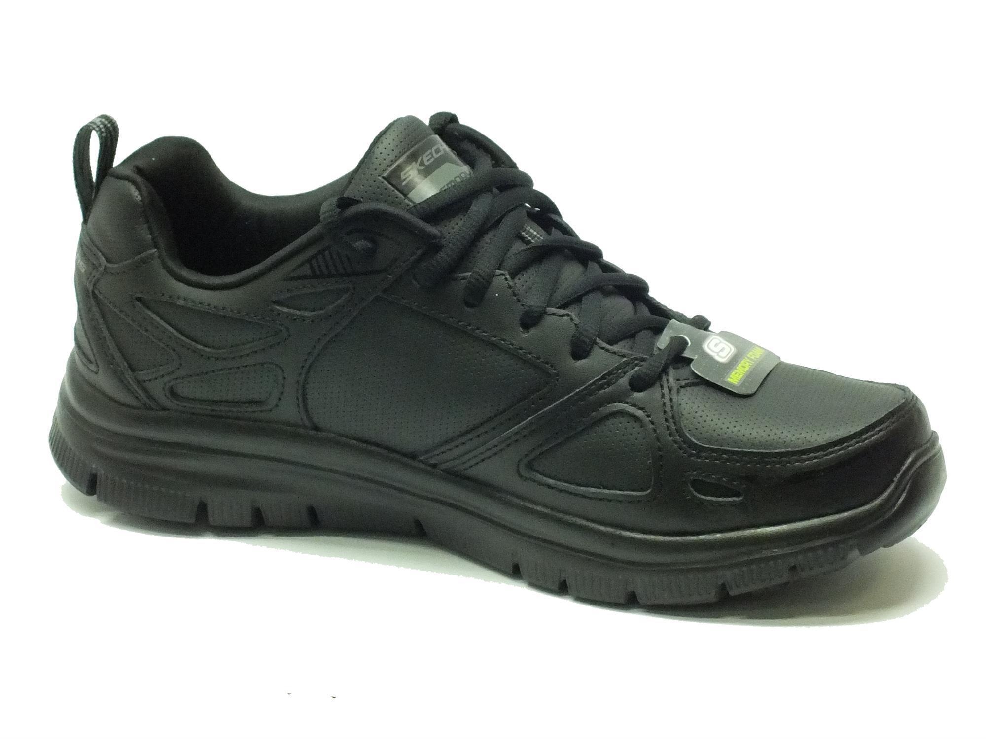 Scarpe Skechers Sport per uomo in pelle e sintetico nero con memory foam