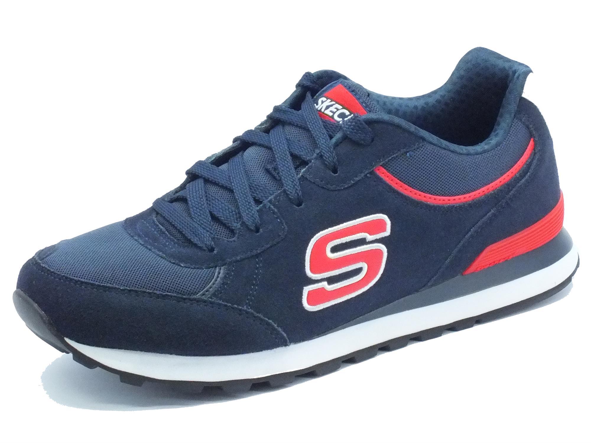 Scarpe Skechers Original per uomo in pelle e tessuto blu