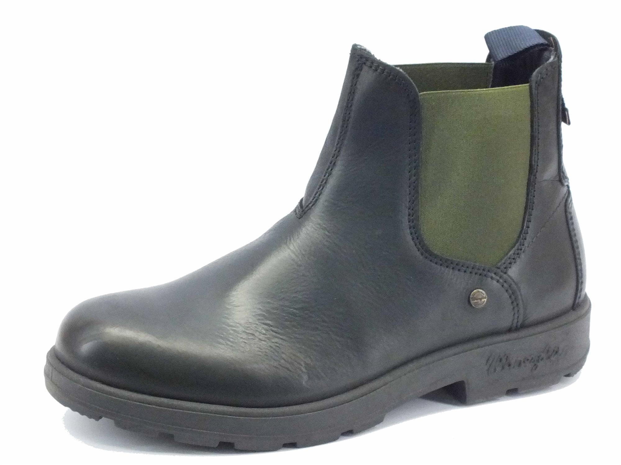 scarpe sportive 5a11d 466a0 Stivaletto per uomo Wrangler Buddy in pelle nera con elastici verdi