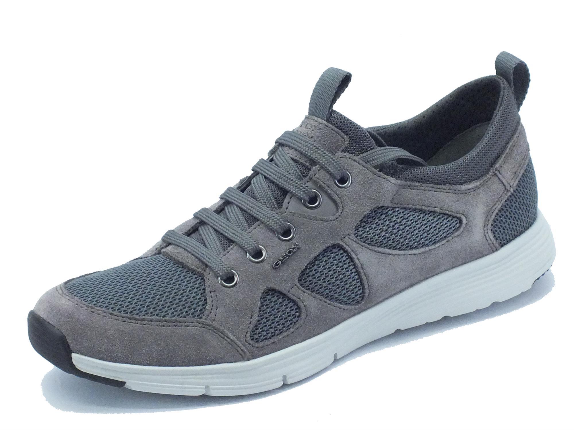 Scarpe Geox per uomo modello sportivo in camoscio e tessuto antracite grigio