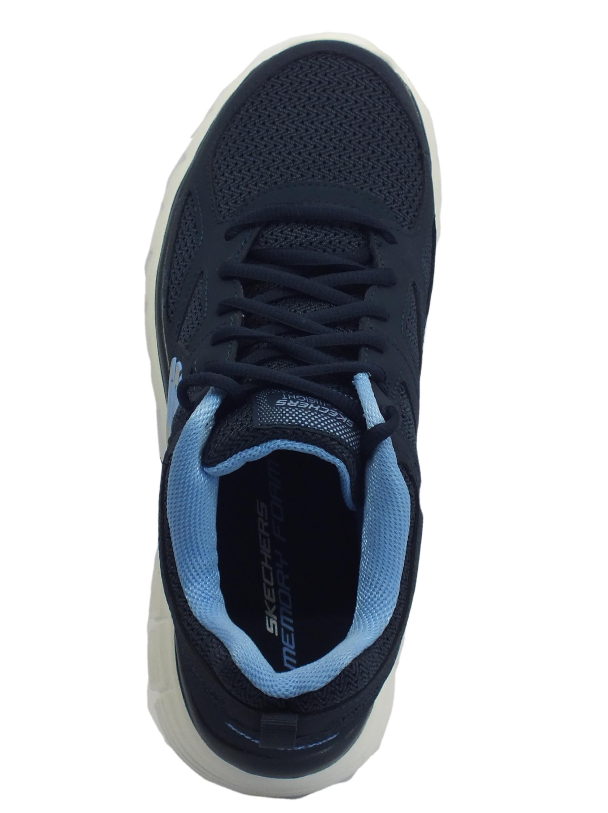 ... Skechers Sport per uomo in camoscio e tessuto blu sottopiede memory foam 9d3722fd57a