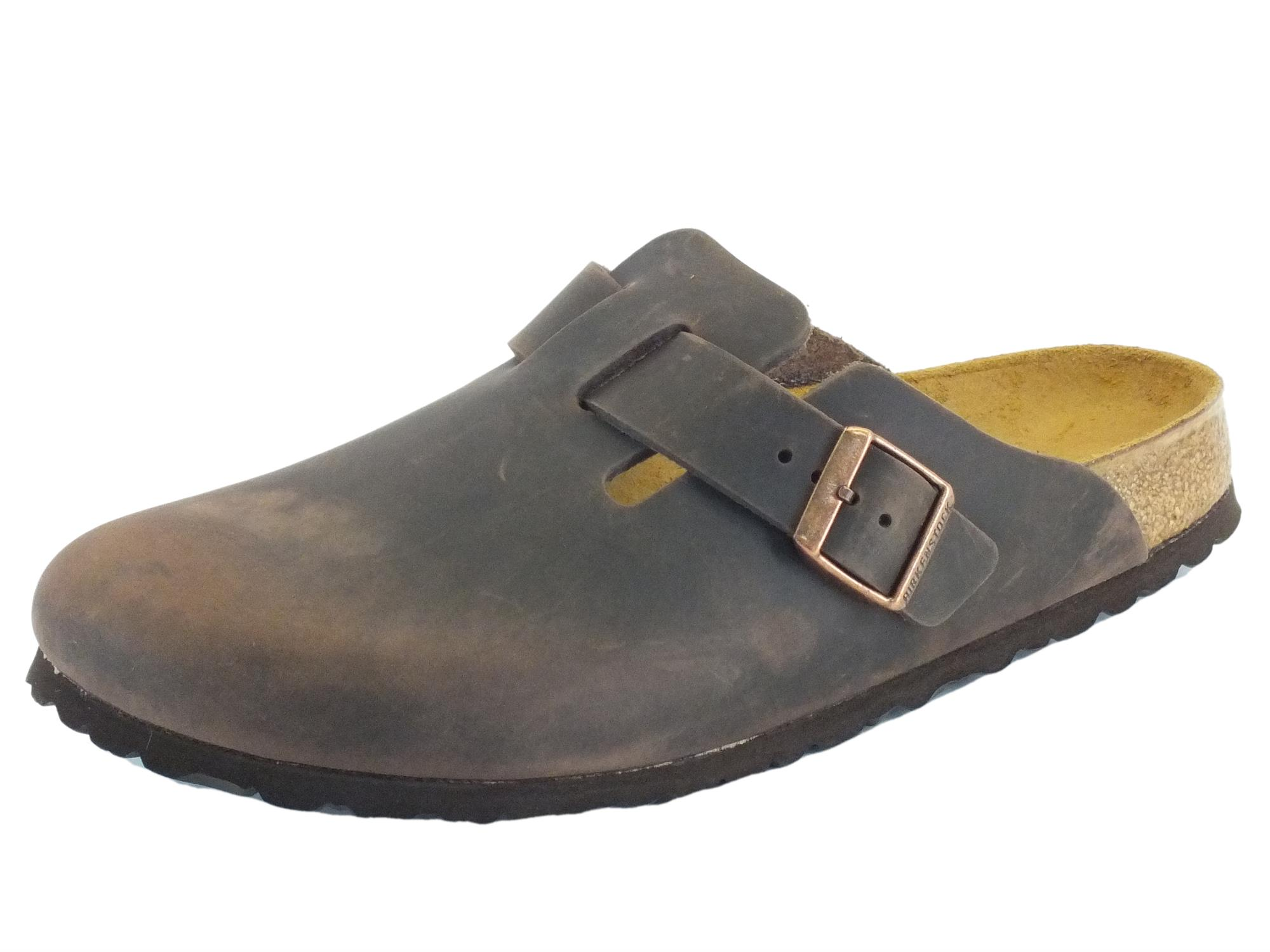 factory authentic 2dba6 adbb9 Sandali Boston Habana Birkenstock per uomo in pelle ingrassata marrone