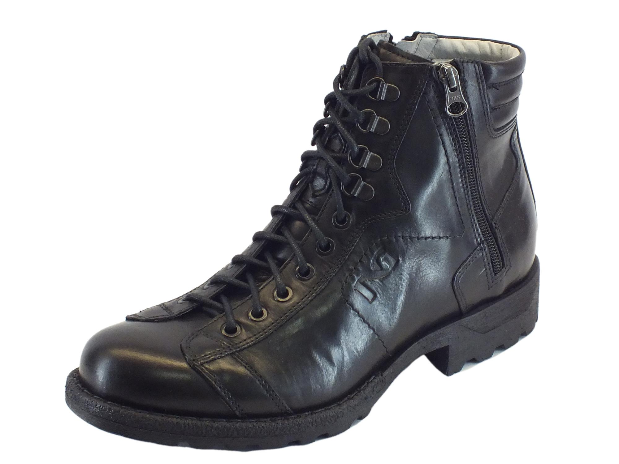 Anfibi nerogiardini twist uomo pelle nera lampo lacci vitiello calzature - Anfibi uomo nero giardini ...