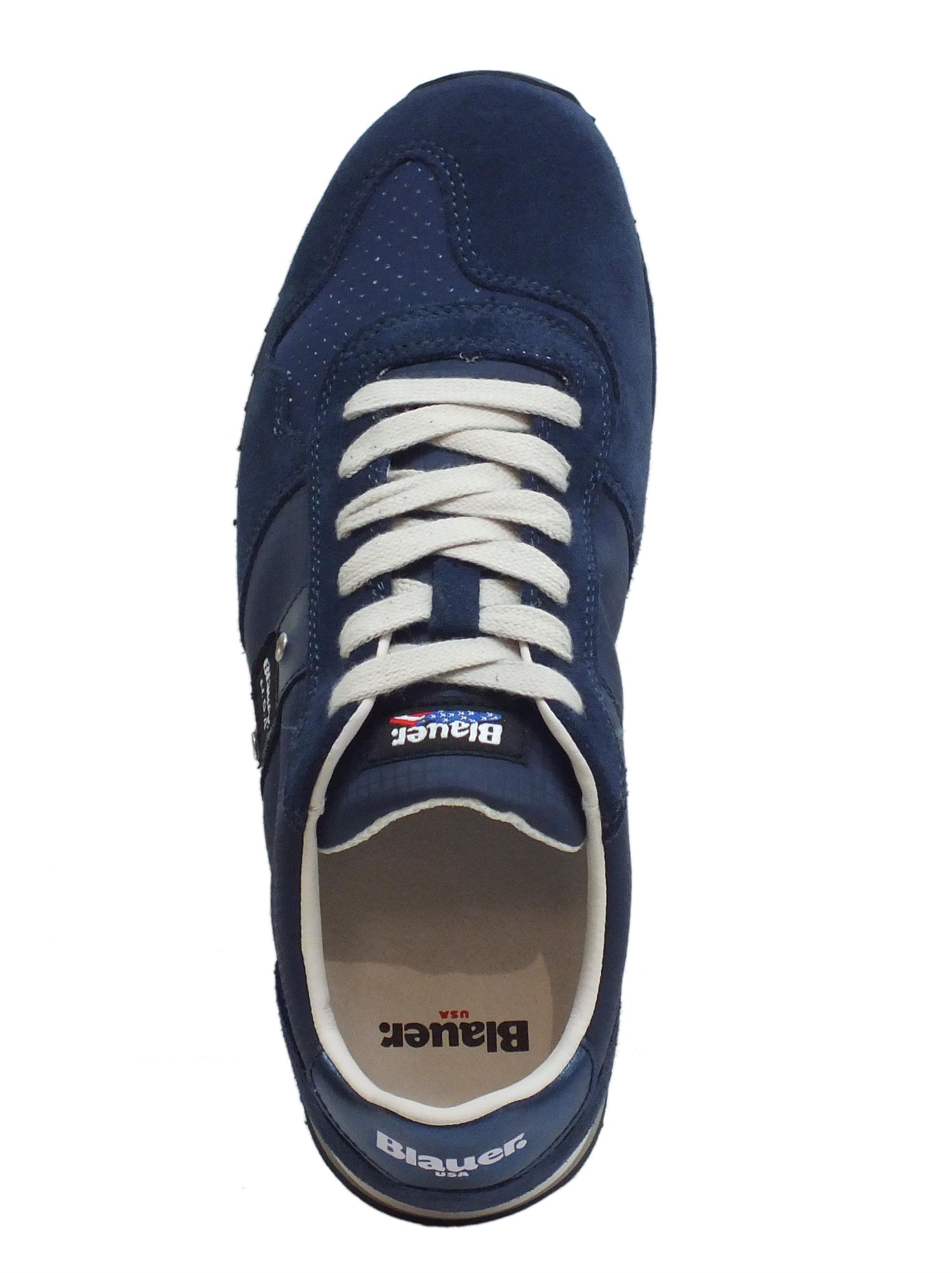 Sneakers Blauer USA uomo camoscio blu tessuto blu - Vitiello Calzature 0d9575d5cda