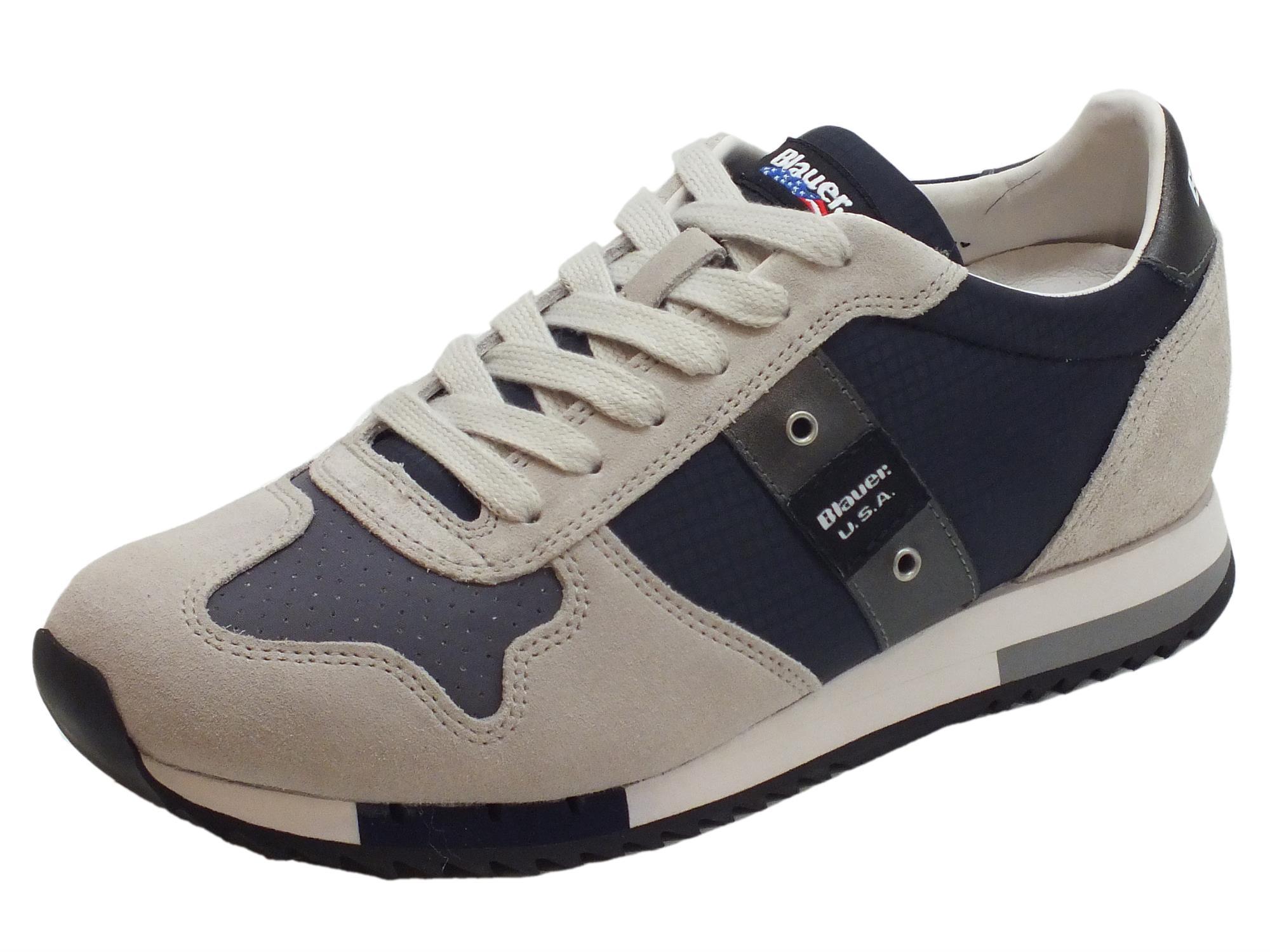 Sneakers Blauer USA uomo camoscio grigio tessuto nero - Vitiello ... c41a605d37d