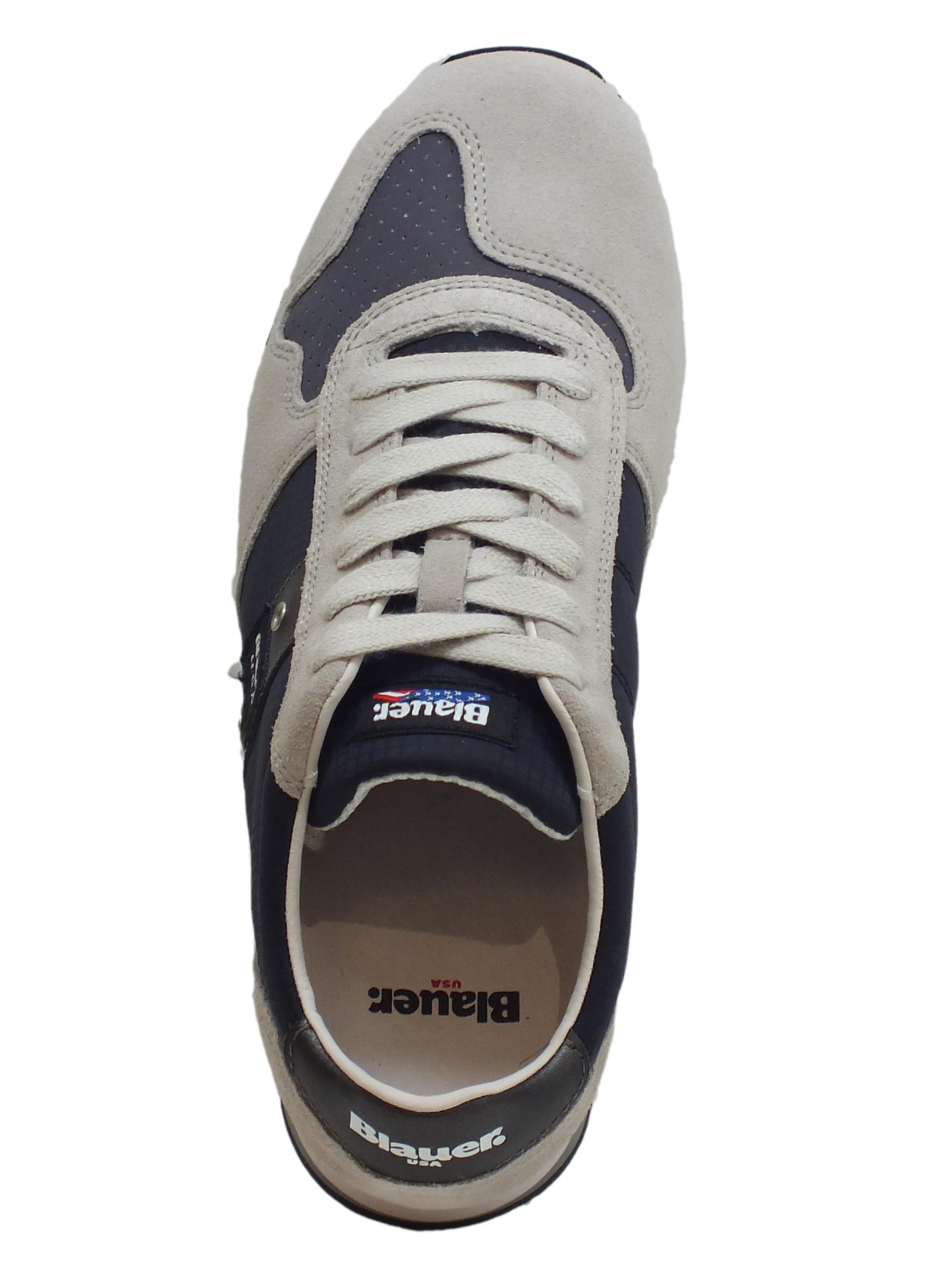 Sneakers Blauer USA uomo camoscio grigio tessuto nero - Vitiello ... ce967b556c5
