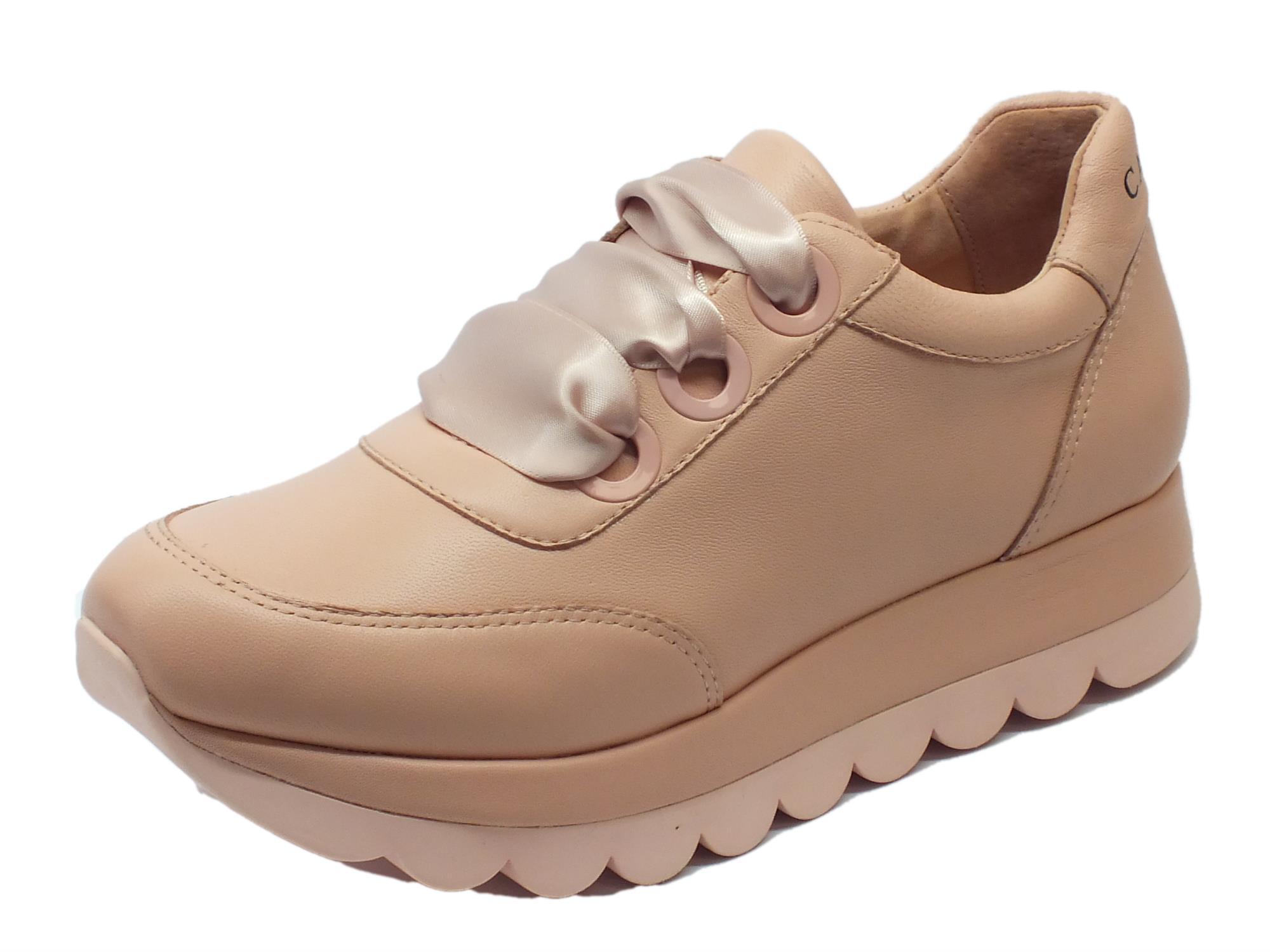 Sneakers CafèNoir per donna in pelle colore cipria lacci in raso rosa c651fcbe05d