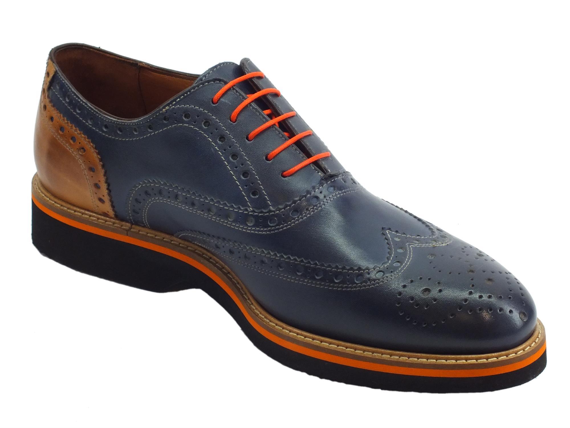 dcfe2c7509f6e ... Scarpe eleganti per uomo Mercanti Fiorentini in pelle blu e marrone ...