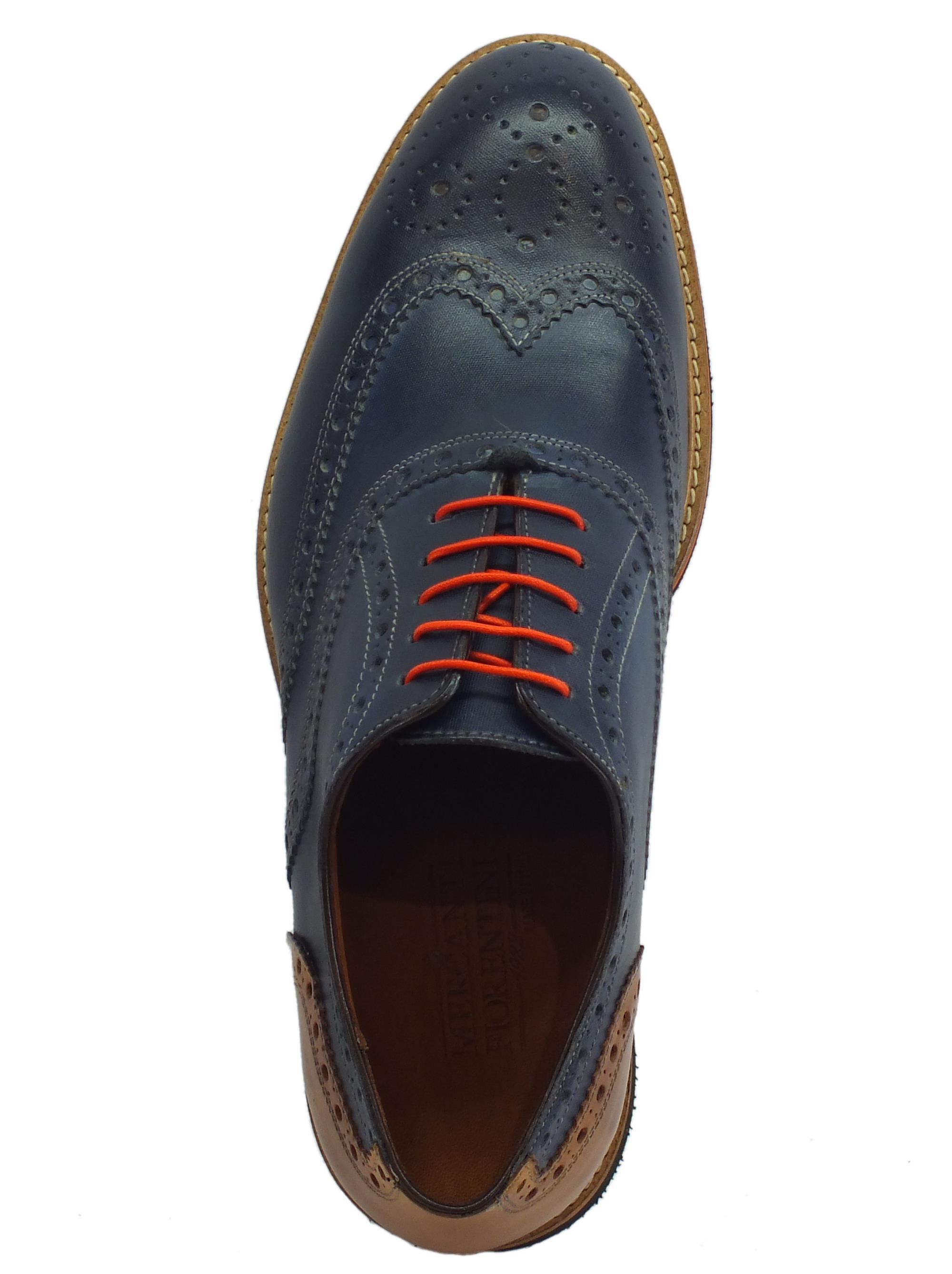 a708c2686edcc ... Scarpe eleganti per uomo Mercanti Fiorentini in pelle blu e marrone
