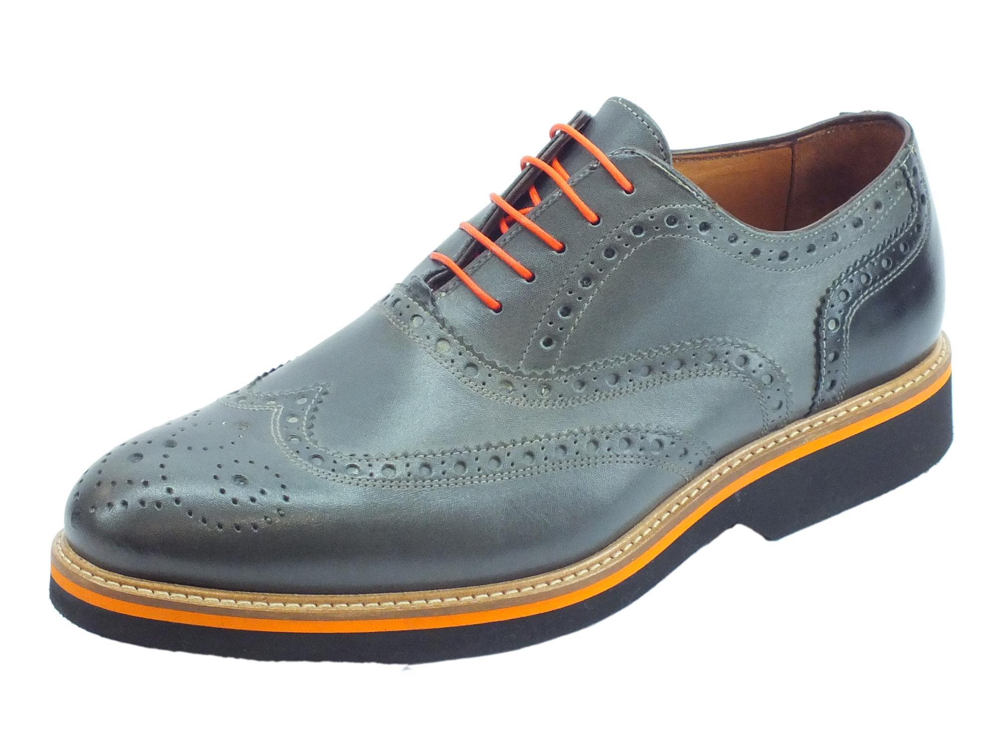 Scarpe eleganti per uomo Mercanti Fiorentini in pelle grigio e nero 996e6406eb7