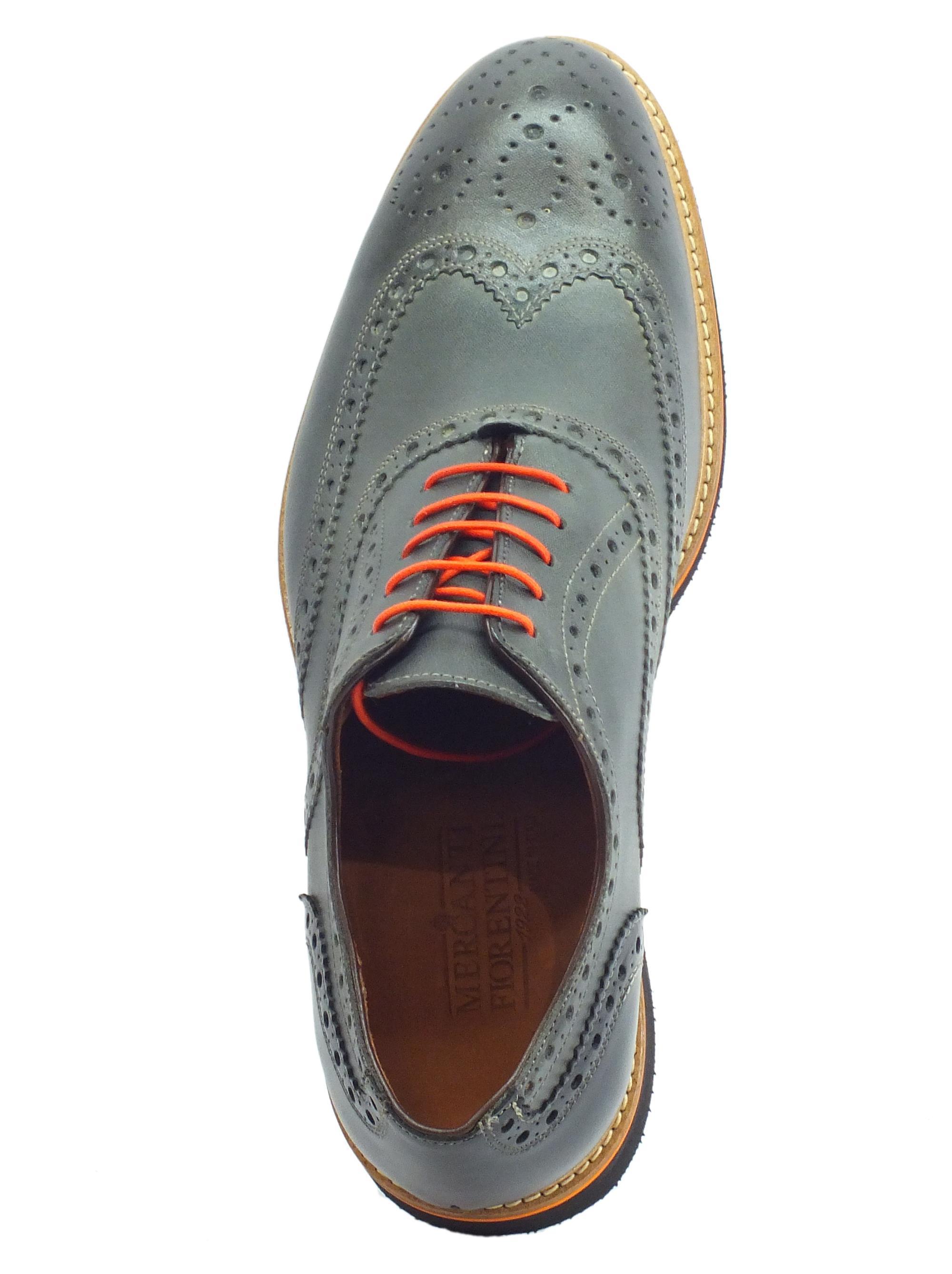 10dcbff42b3ad ... Scarpe eleganti per uomo Mercanti Fiorentini in pelle grigio e nero