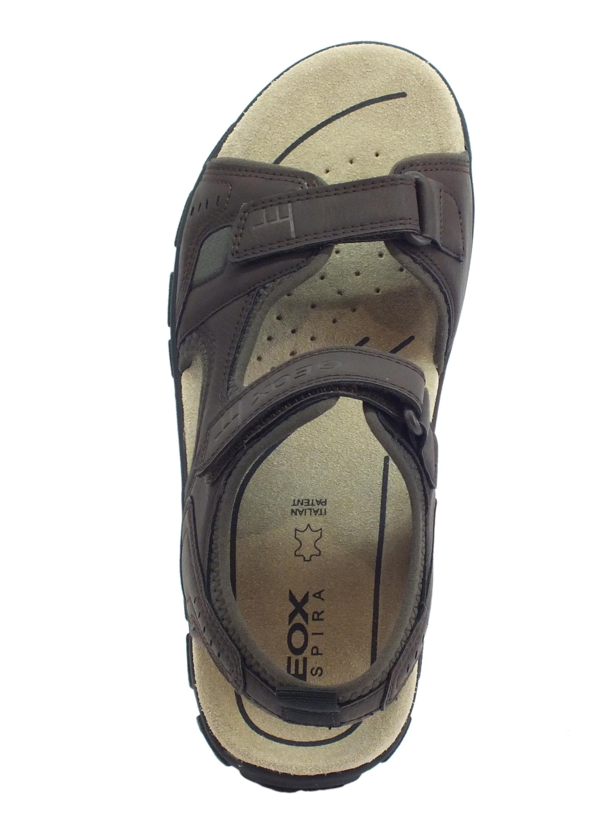 ... Sandali Geox per uomo in ecopelle marrone doppia chiusura a strappo 8e0e6c59385