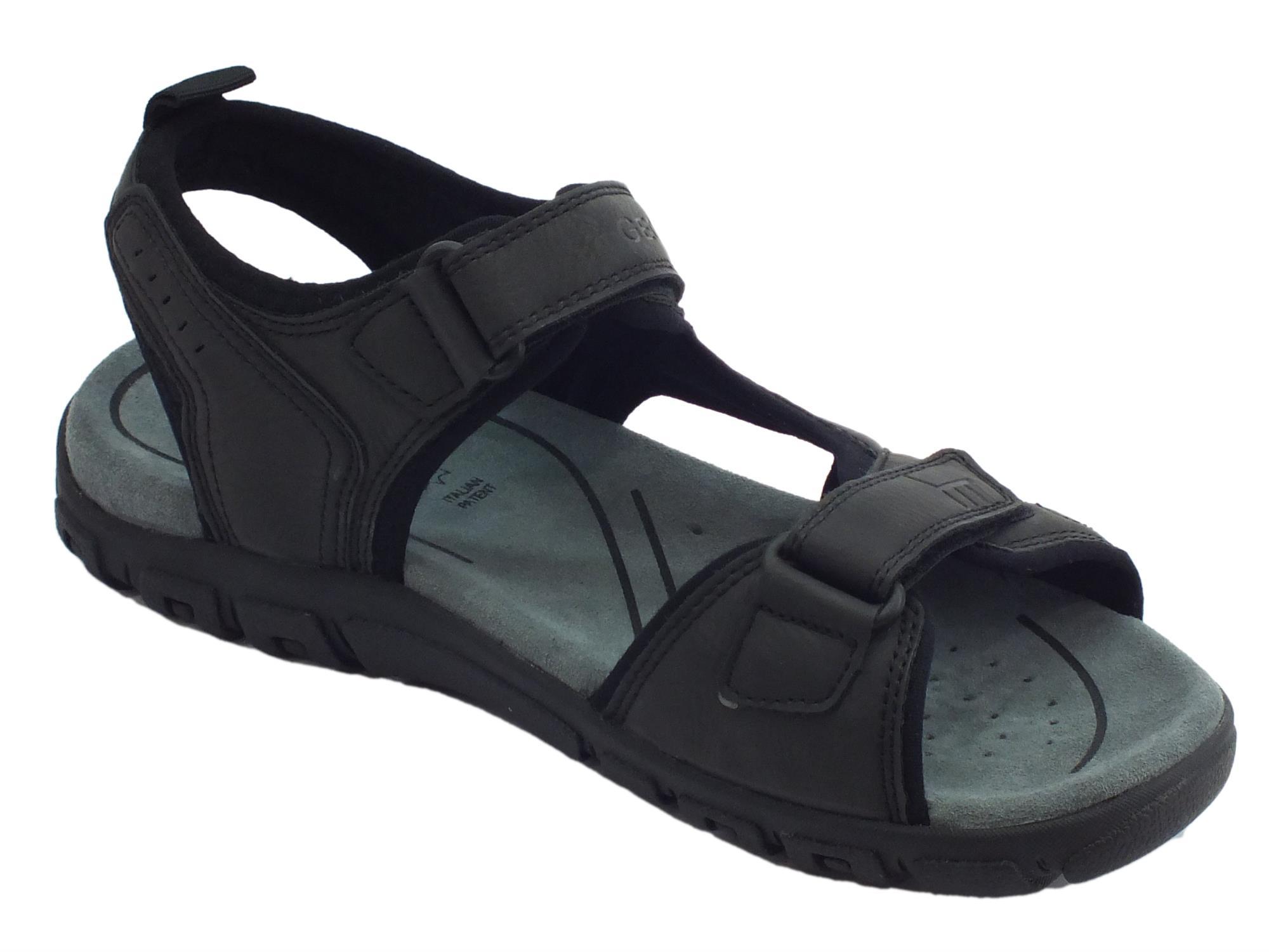 Sandali in ecopelle Geox per uomo colore nero doppia chiusura a strappo -  mainstreetblytheville.org 79ba7421f25