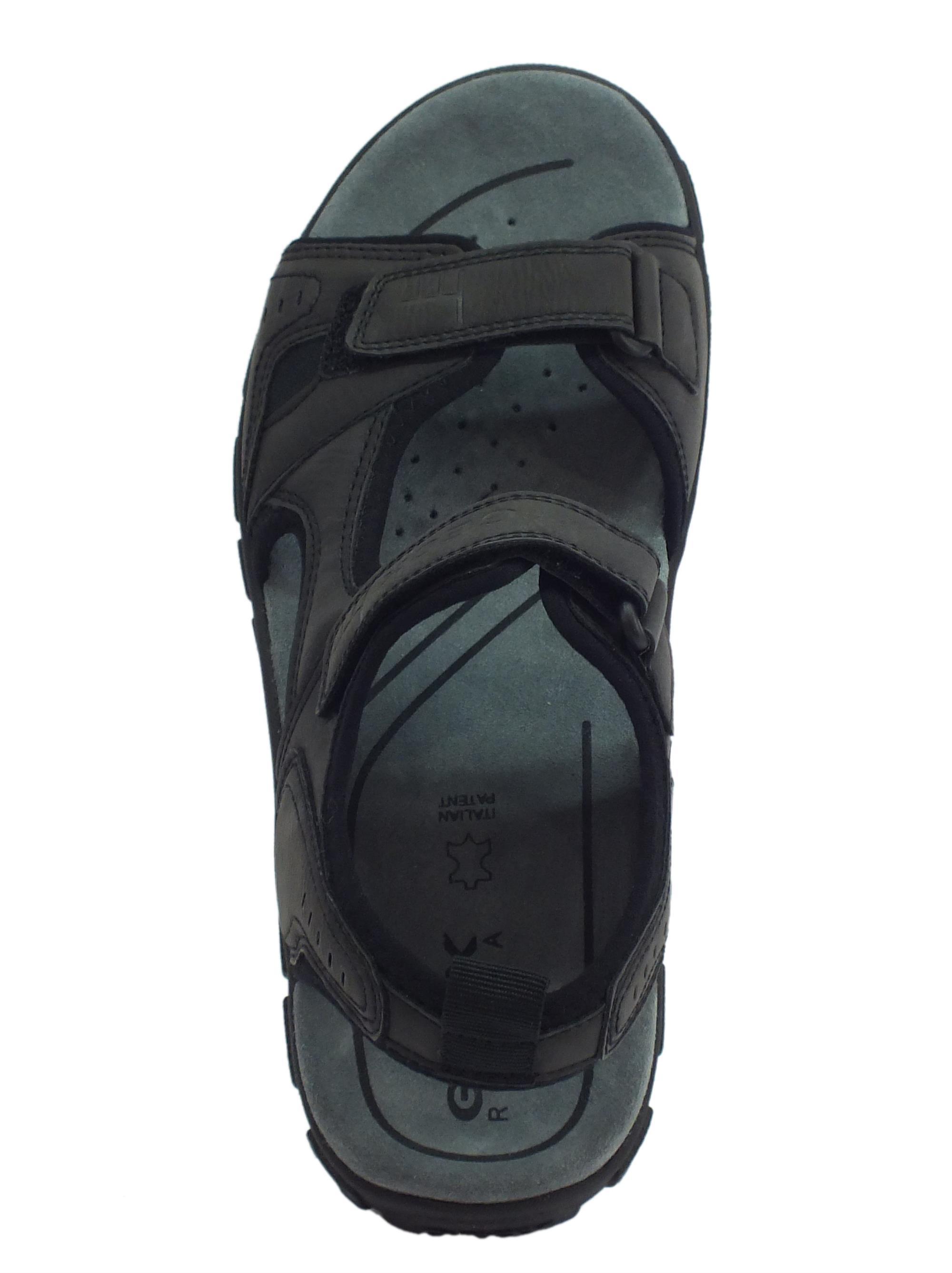 ... Sandali in ecopelle Geox per uomo colore nero doppia chiusura a strappo a72d653181e