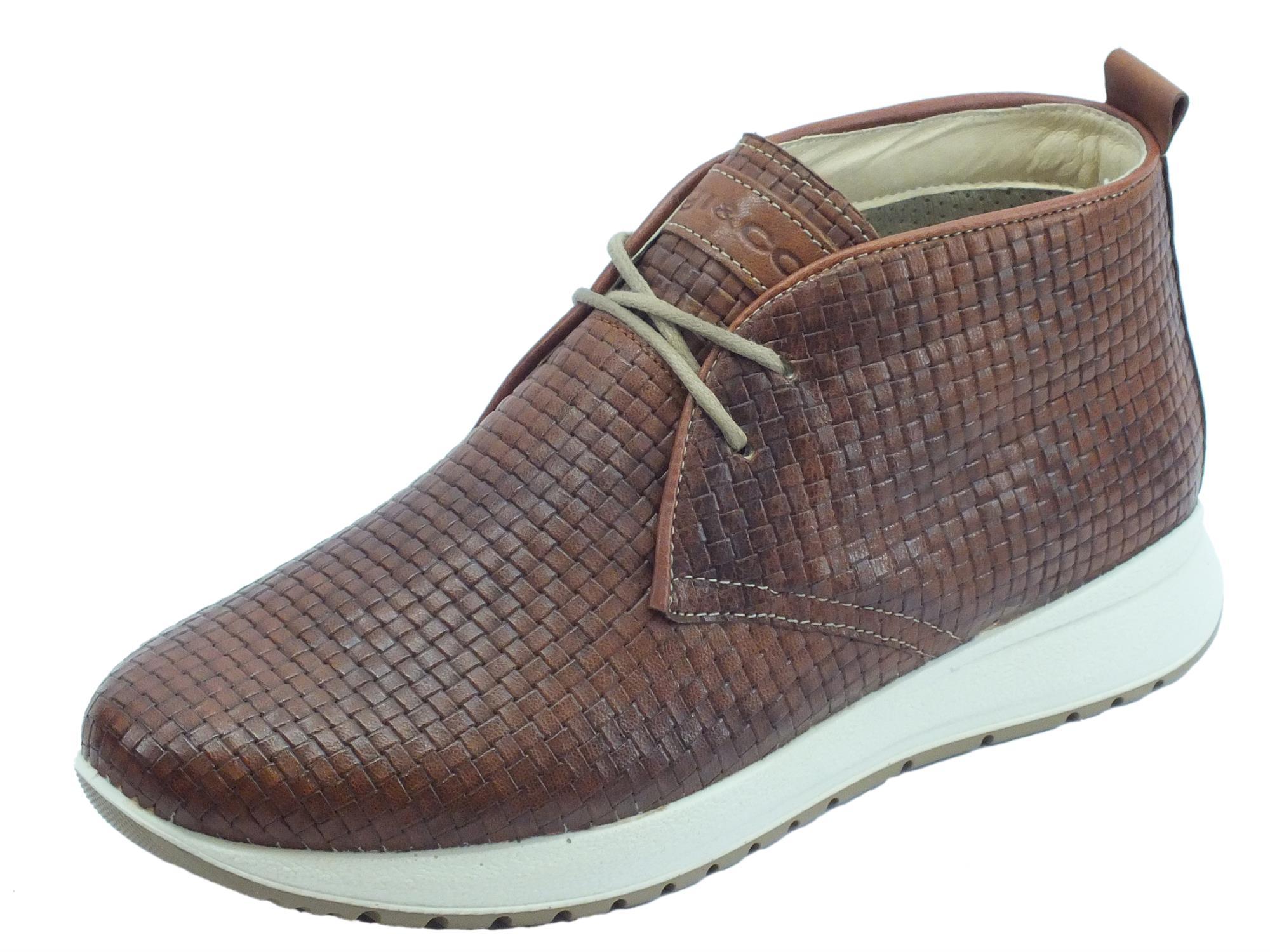 sports shoes 55cc6 e8616 Scarpe per uomo Igi&Co in pelle intrecciata marrone sottopiede estraibile