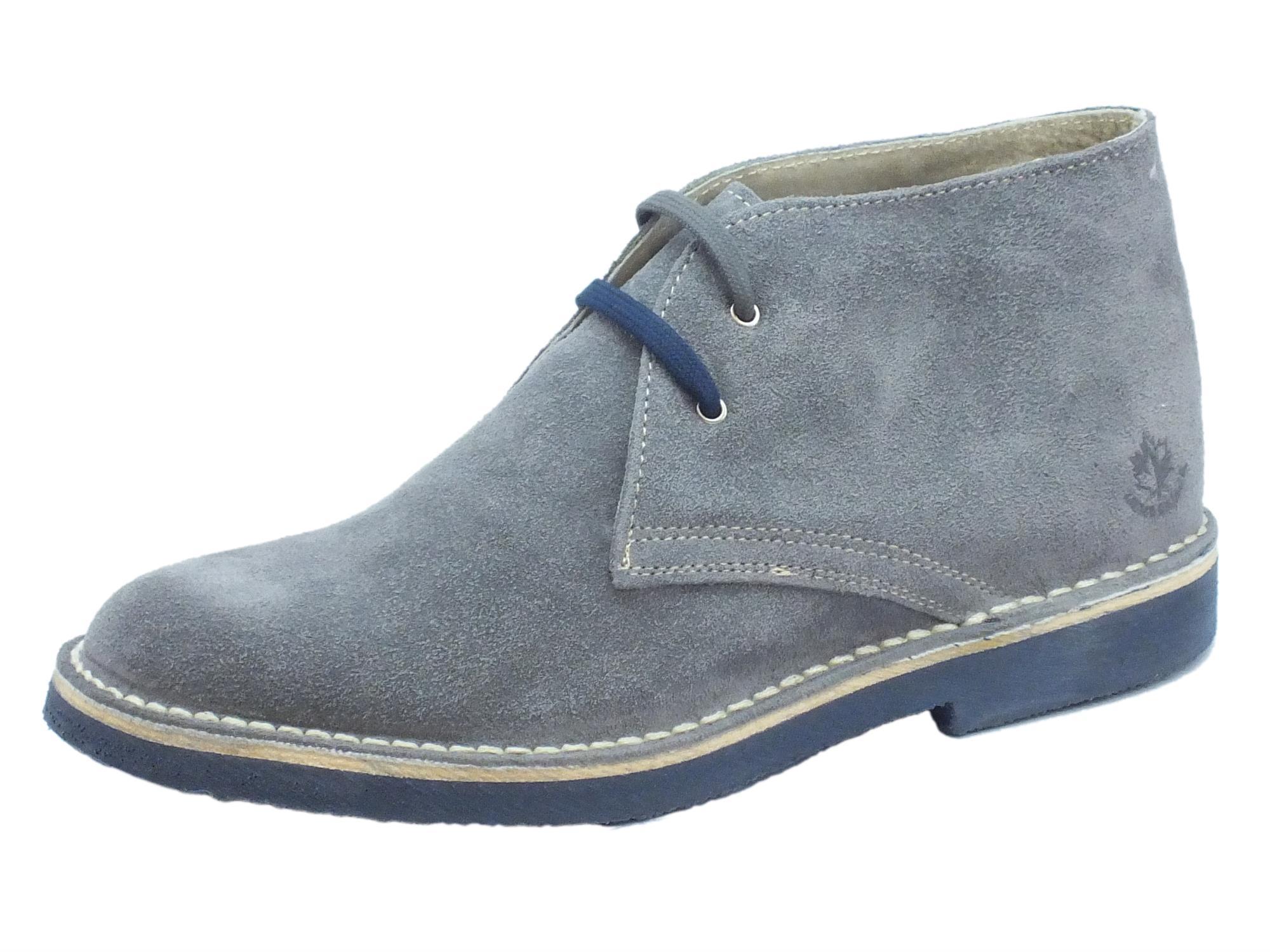 7cd1ad8860 Polacchina Lumberjack GABLE per uomo in nabuk grigio fondo blue