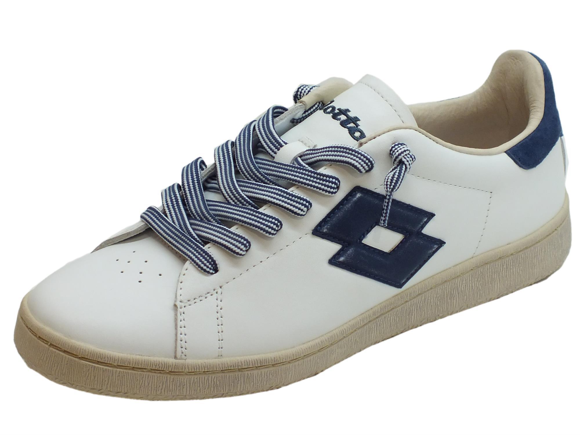 Scarpe Lotto Leggenda modello tennis per uomo in pelle bianca e blu 2eb8335f314