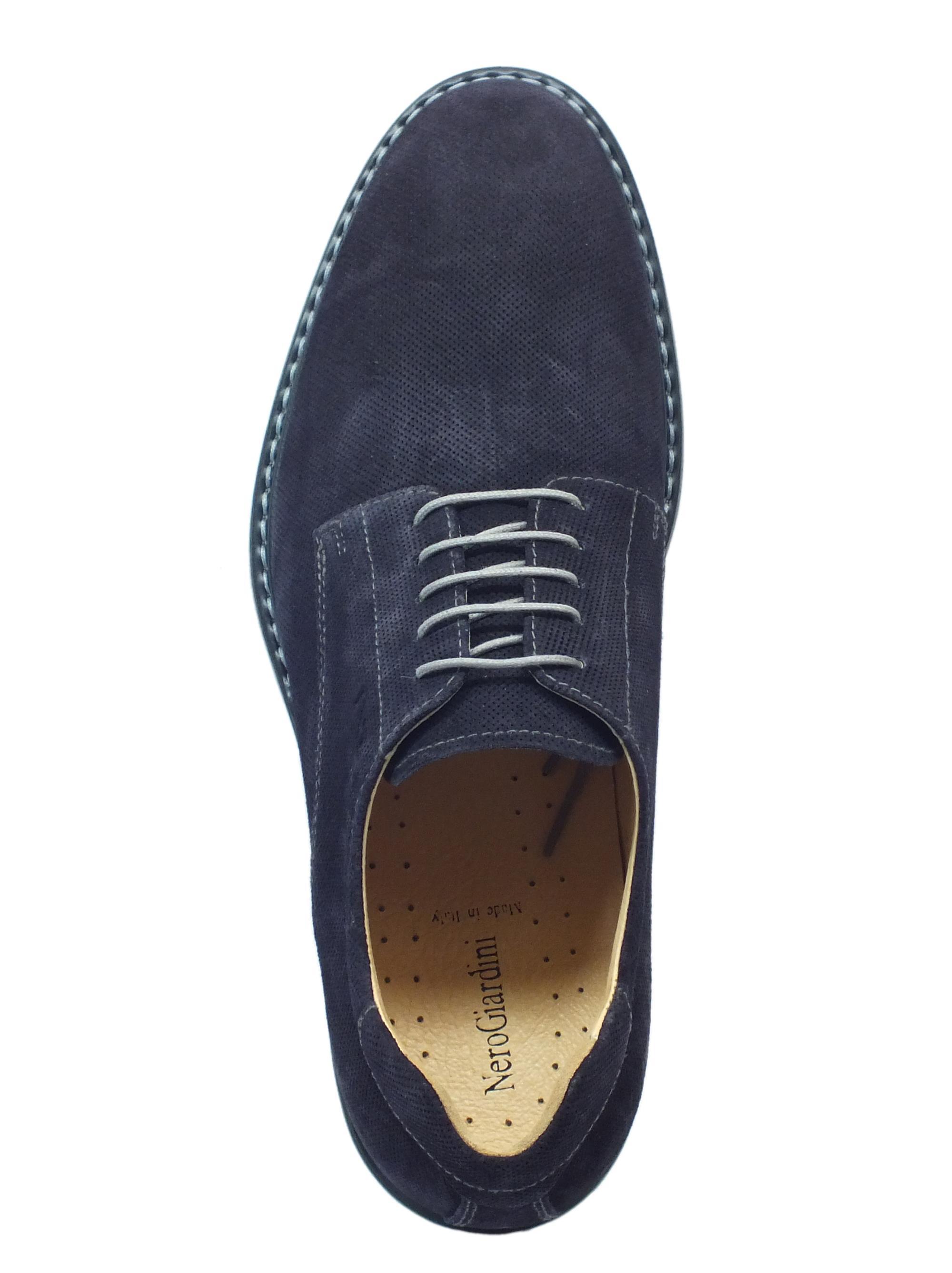 Scarpe NeroGiardini uomo nabuk blue microforato - Vitiello Calzature 7db98bdaa35