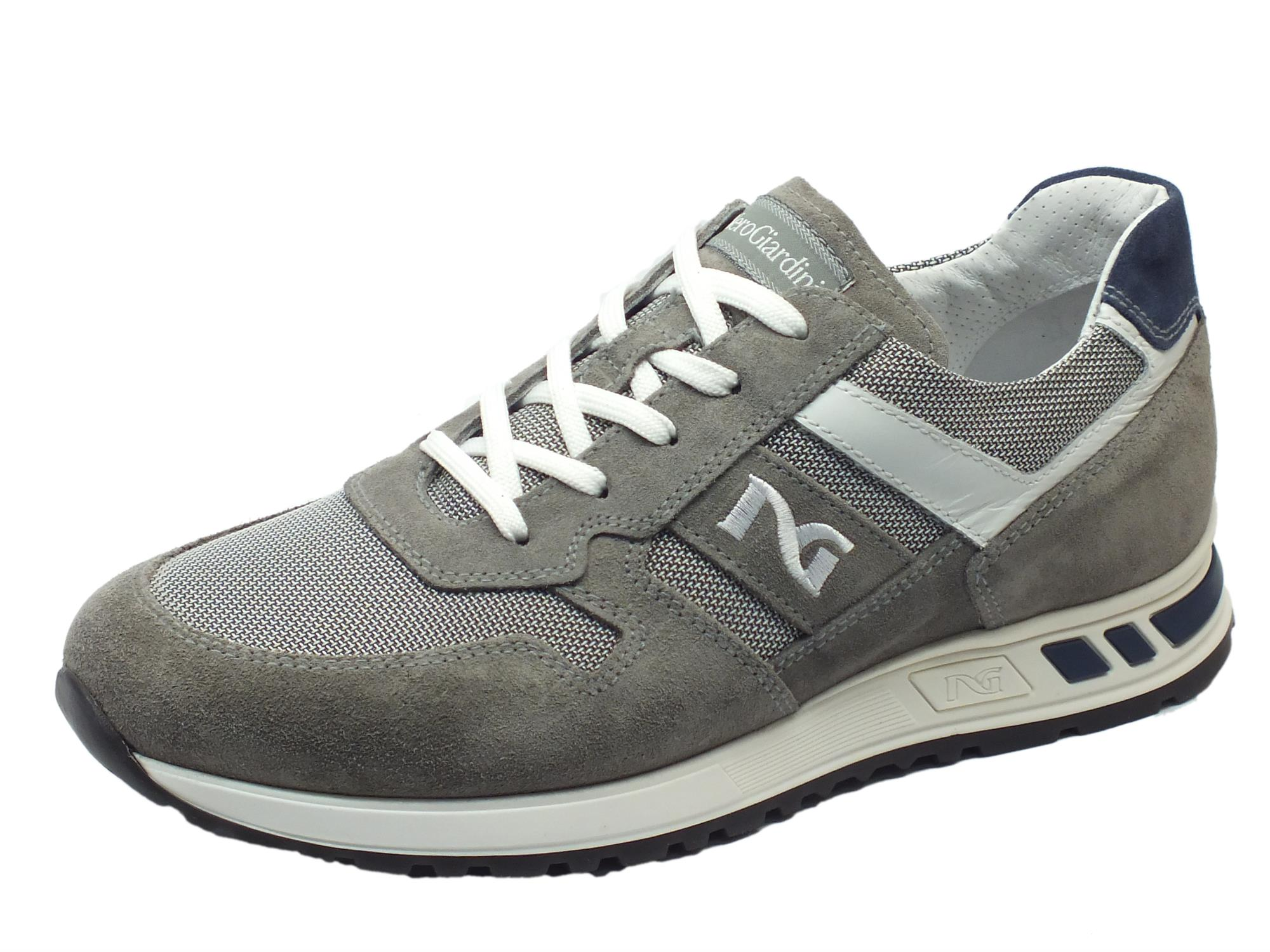Scarpe sportive NeroGiardini per uomo in camoscio grigio e tessuto grigio 06d06fdad5e