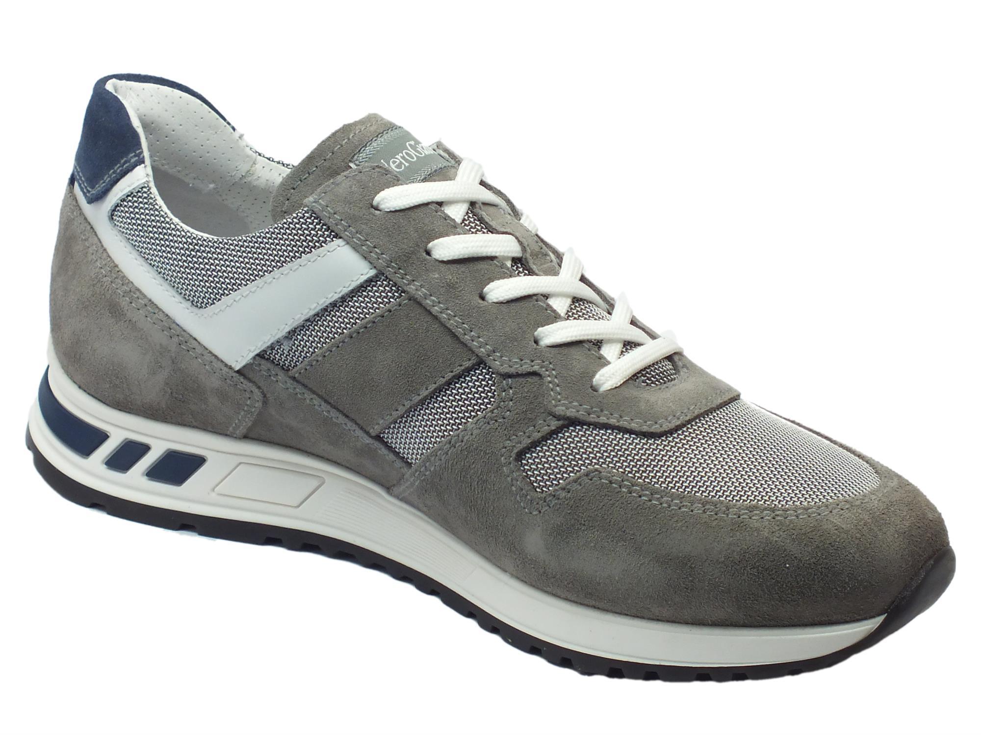 ... Scarpe sportive NeroGiardini per uomo in camoscio grigio e tessuto  grigio ... 91f2e197d87